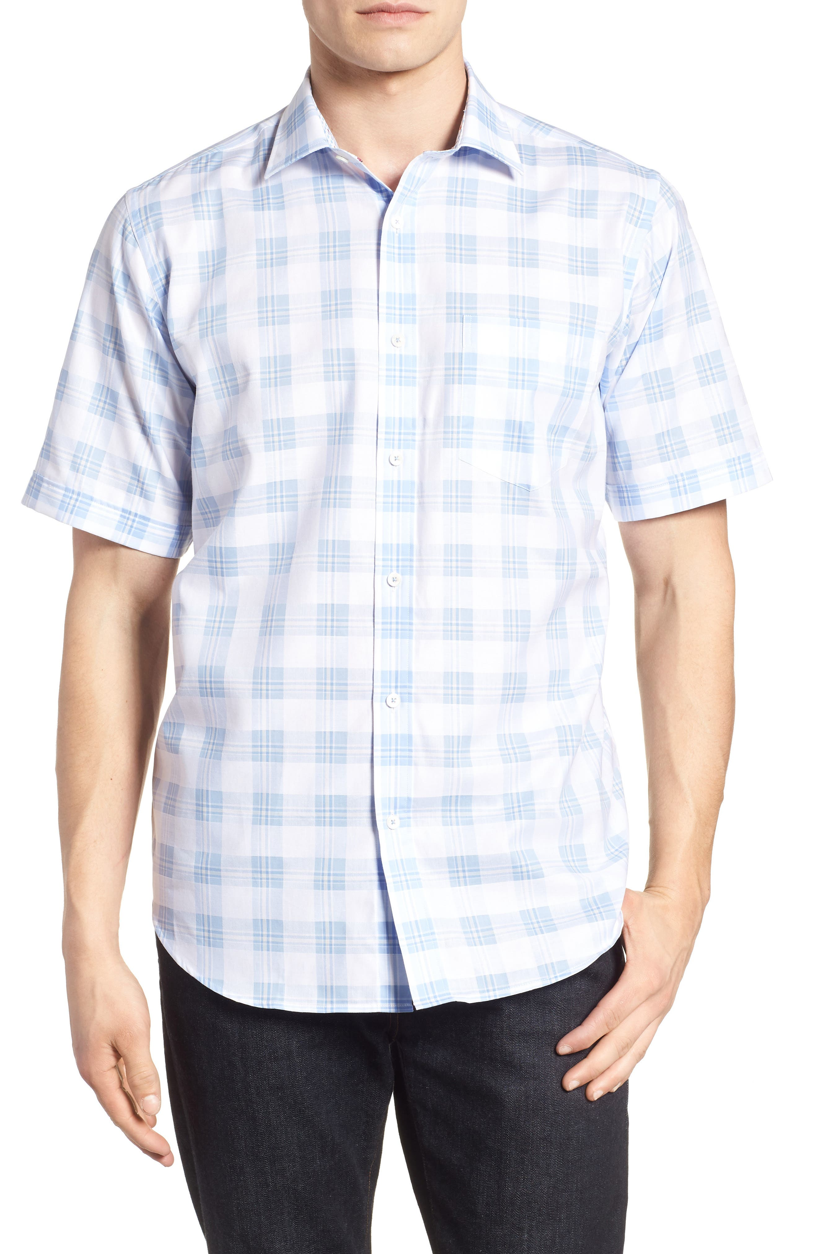 Classic Fit Tartan Check Sport Shirt,                         Main,                         color, Sky
