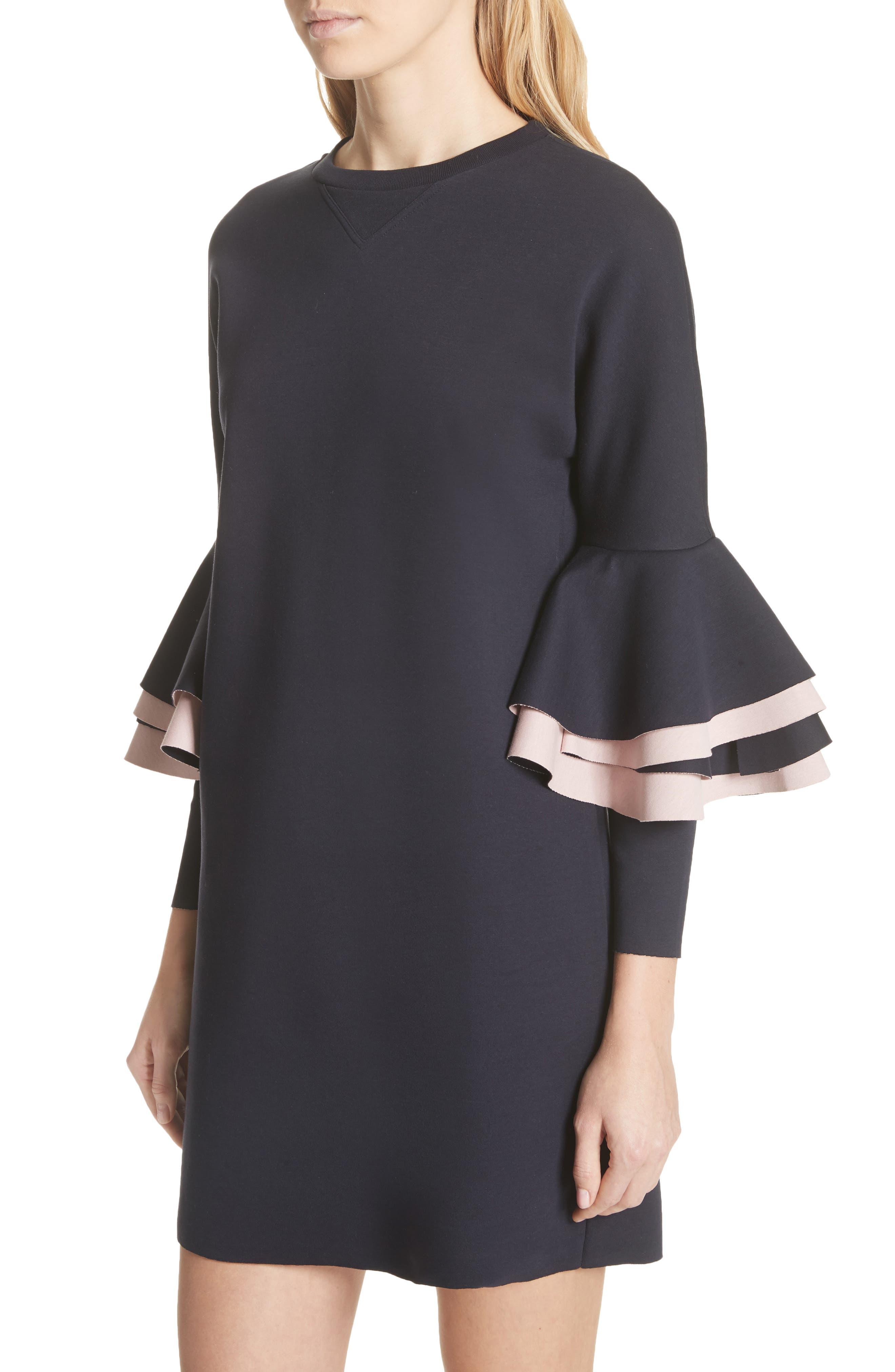 Chloae Frill Sleeve Sweatshirt Dress,                             Alternate thumbnail 4, color,                             Navy