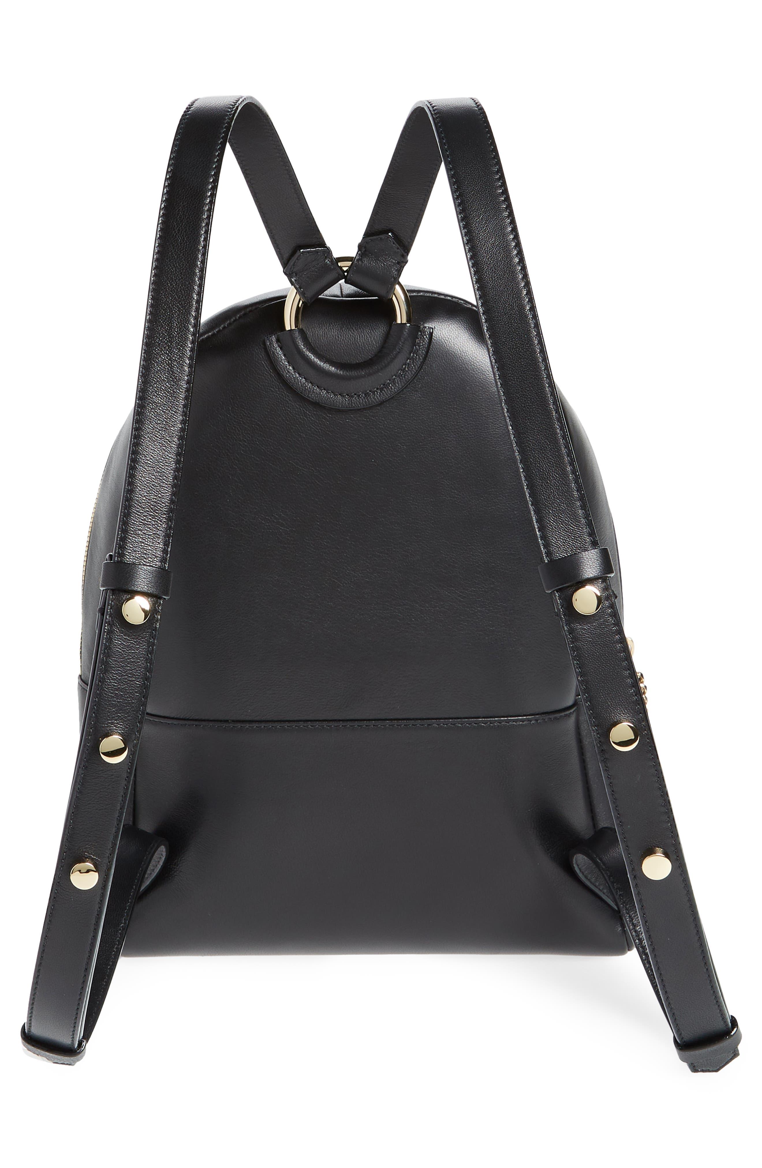 Cassie Star Studded Lambskin Leather Backpack,                             Alternate thumbnail 3, color,                             Black