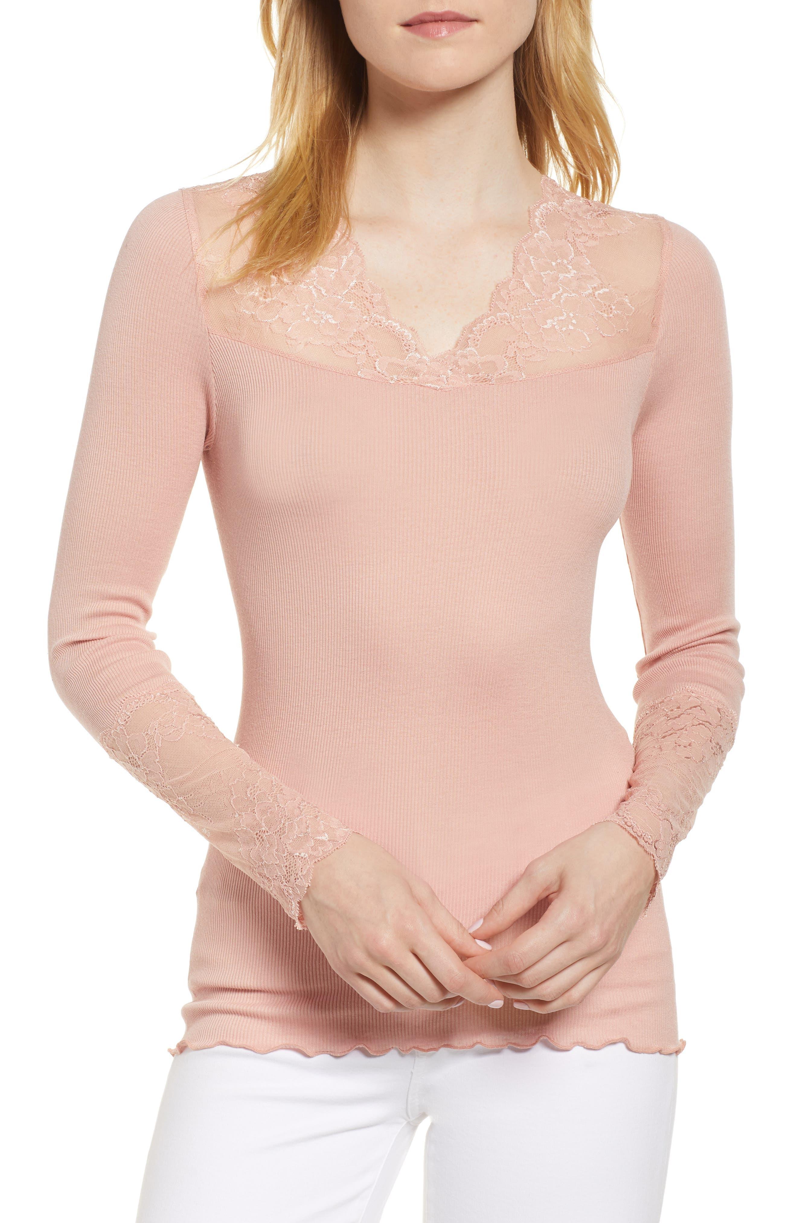 Brigit Lace Embellished Silk Blend Top,                         Main,                         color, Misty Rose
