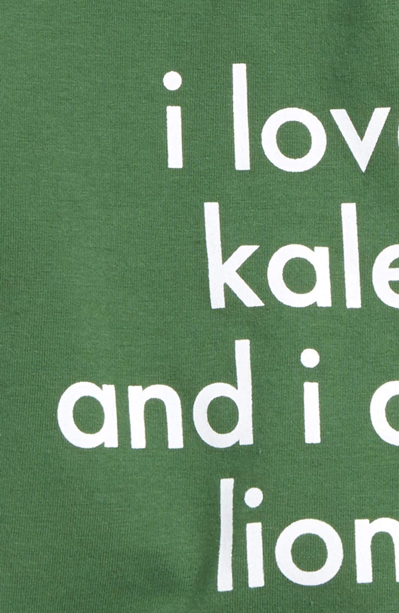 I Love Kale T-Shirt & Shorts Set,                             Alternate thumbnail 2, color,                             Green/ Black