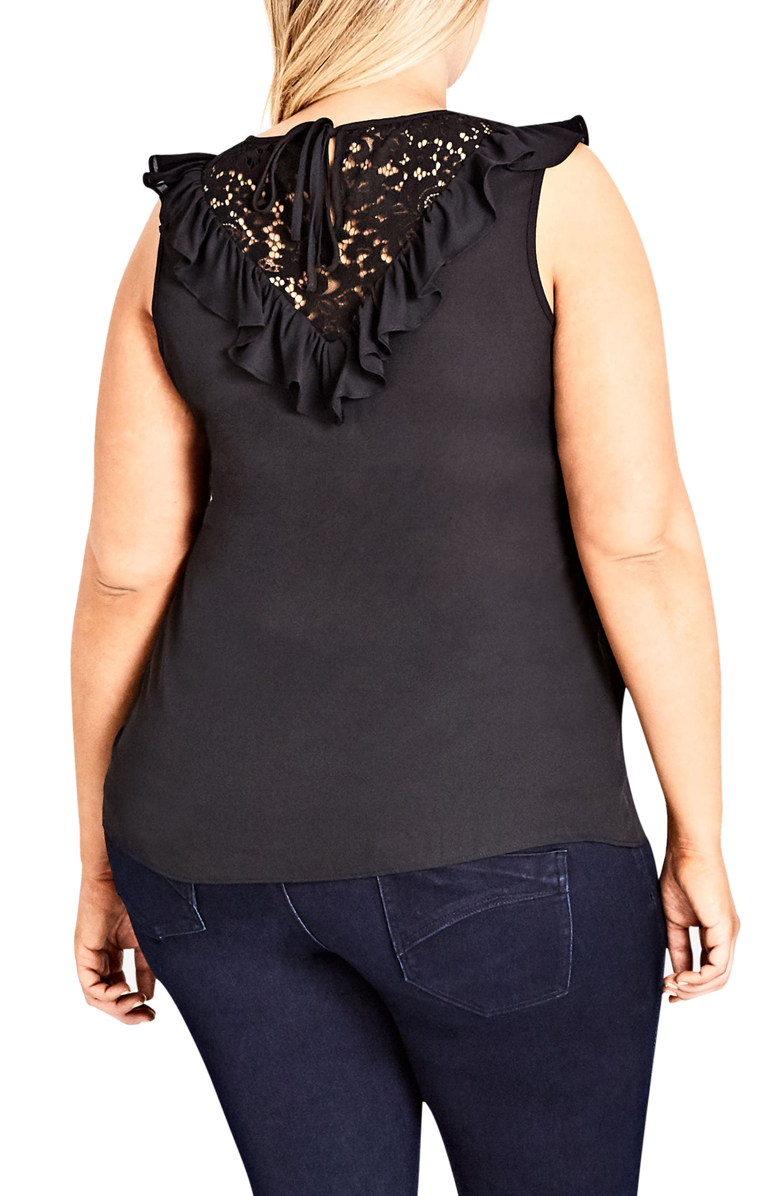 Lace Romance Top,                             Alternate thumbnail 3, color,                             Black