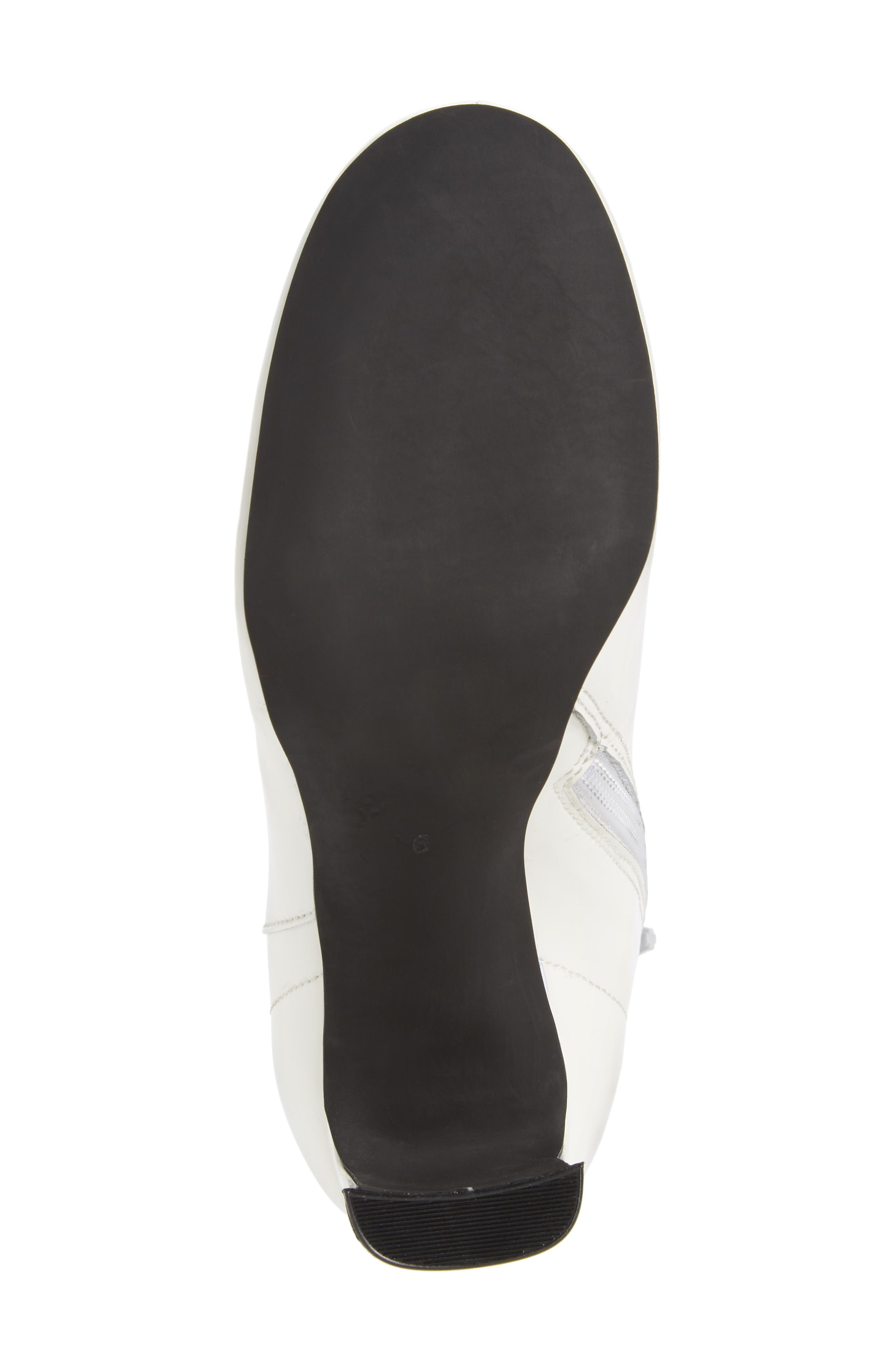 Chapel Curved Heel Bootie,                             Alternate thumbnail 6, color,                             White Patent Leather