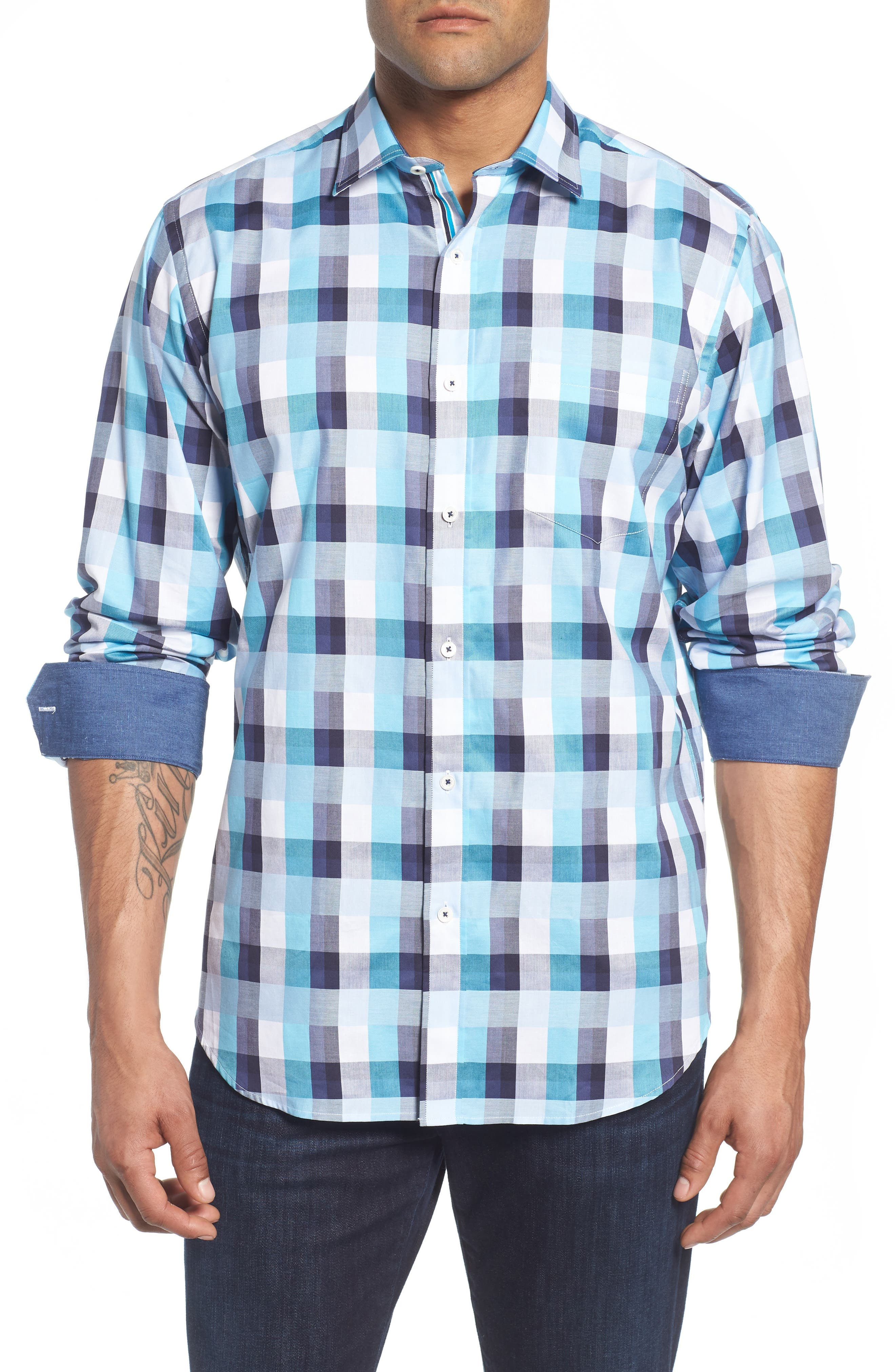 Classic Fit Check Sport Shirt,                             Main thumbnail 1, color,                             Seafoam