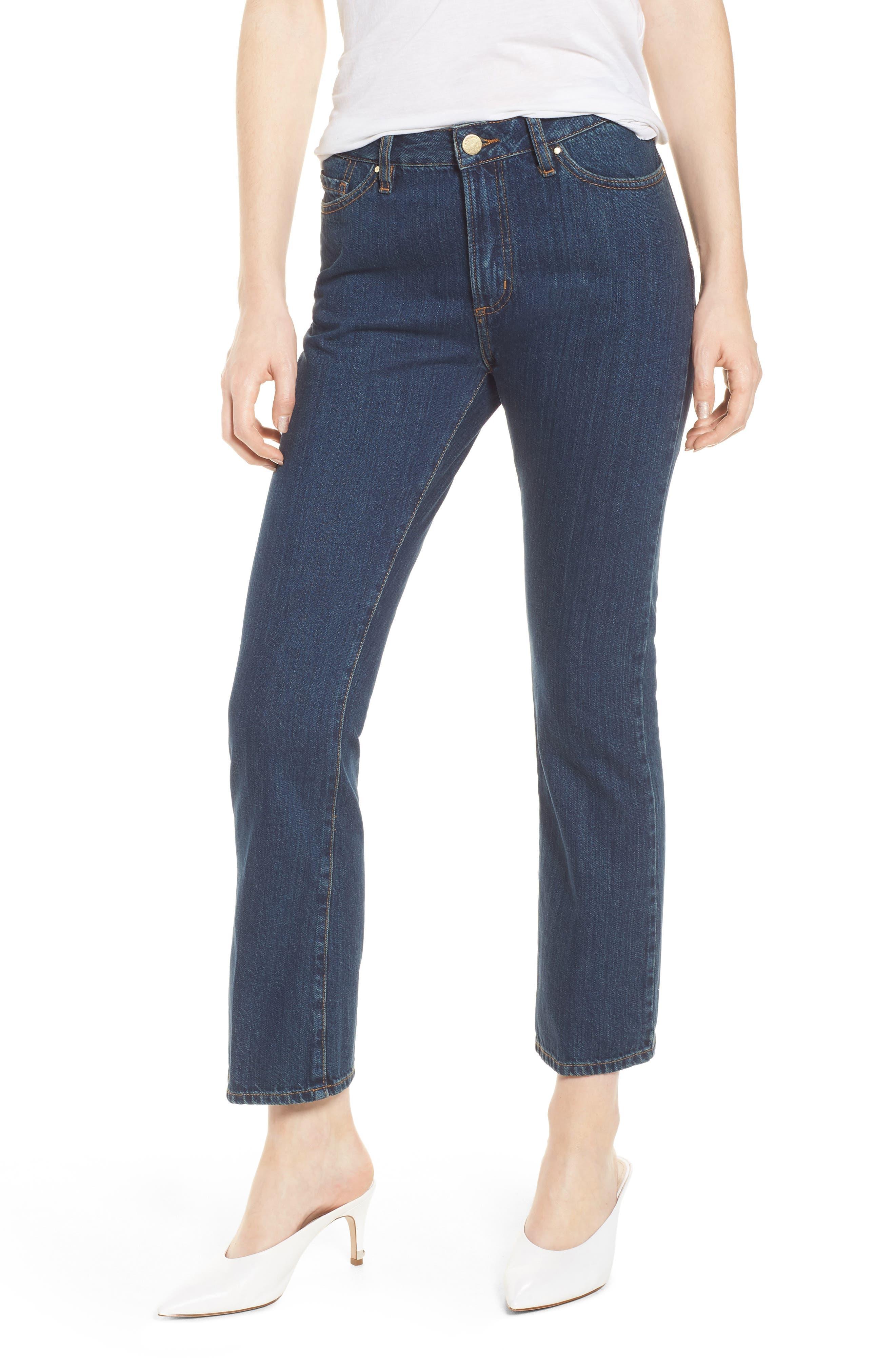 1970 The Flared Crop Jeans,                         Main,                         color, Blue Denim