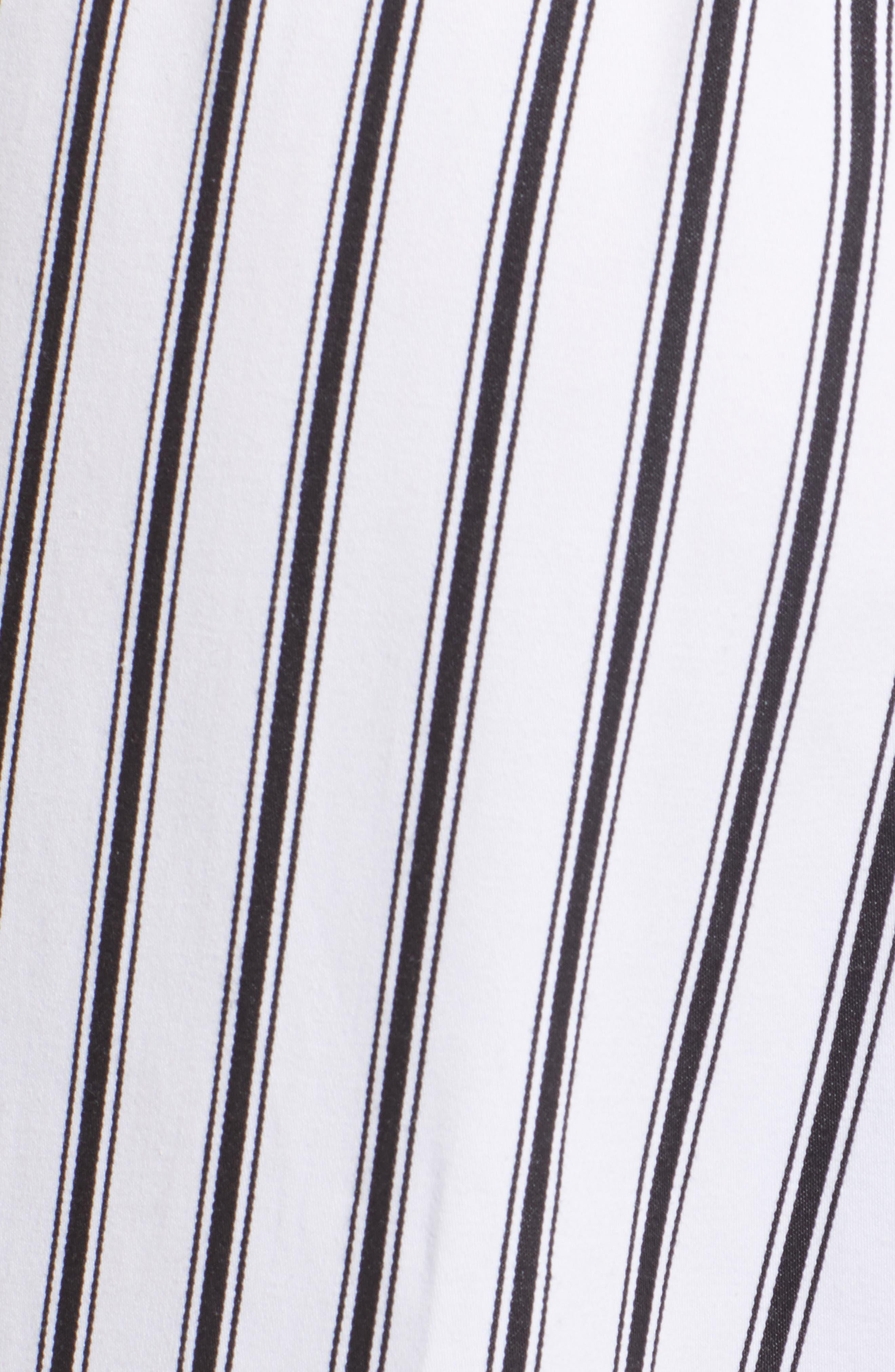 High Waist Convertible Wide Leg Pants,                             Alternate thumbnail 6, color,                             Black/ White Striped