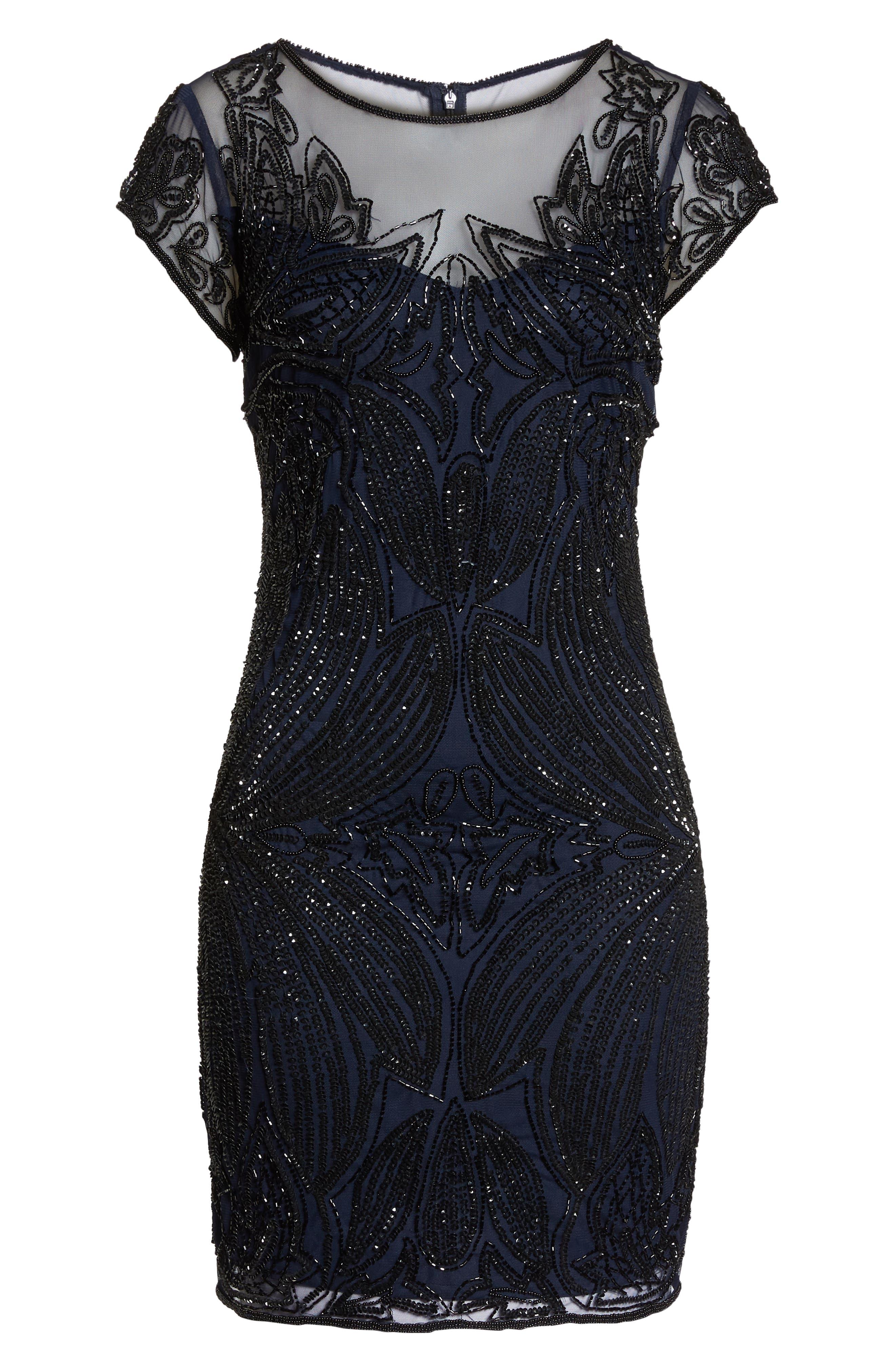 Beaded Illusion Yoke Sheath Dress,                             Alternate thumbnail 7, color,                             Navy Black