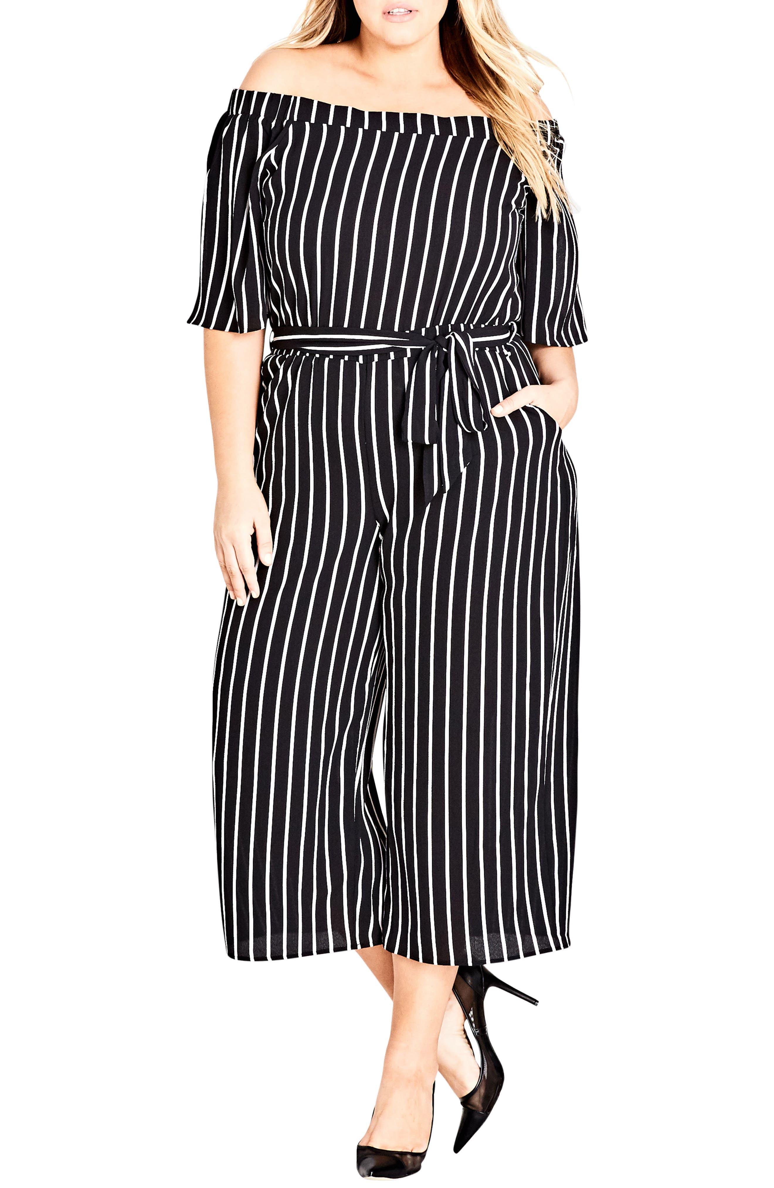 City Chic Stripe Play Jumpsuit (Plus Size)