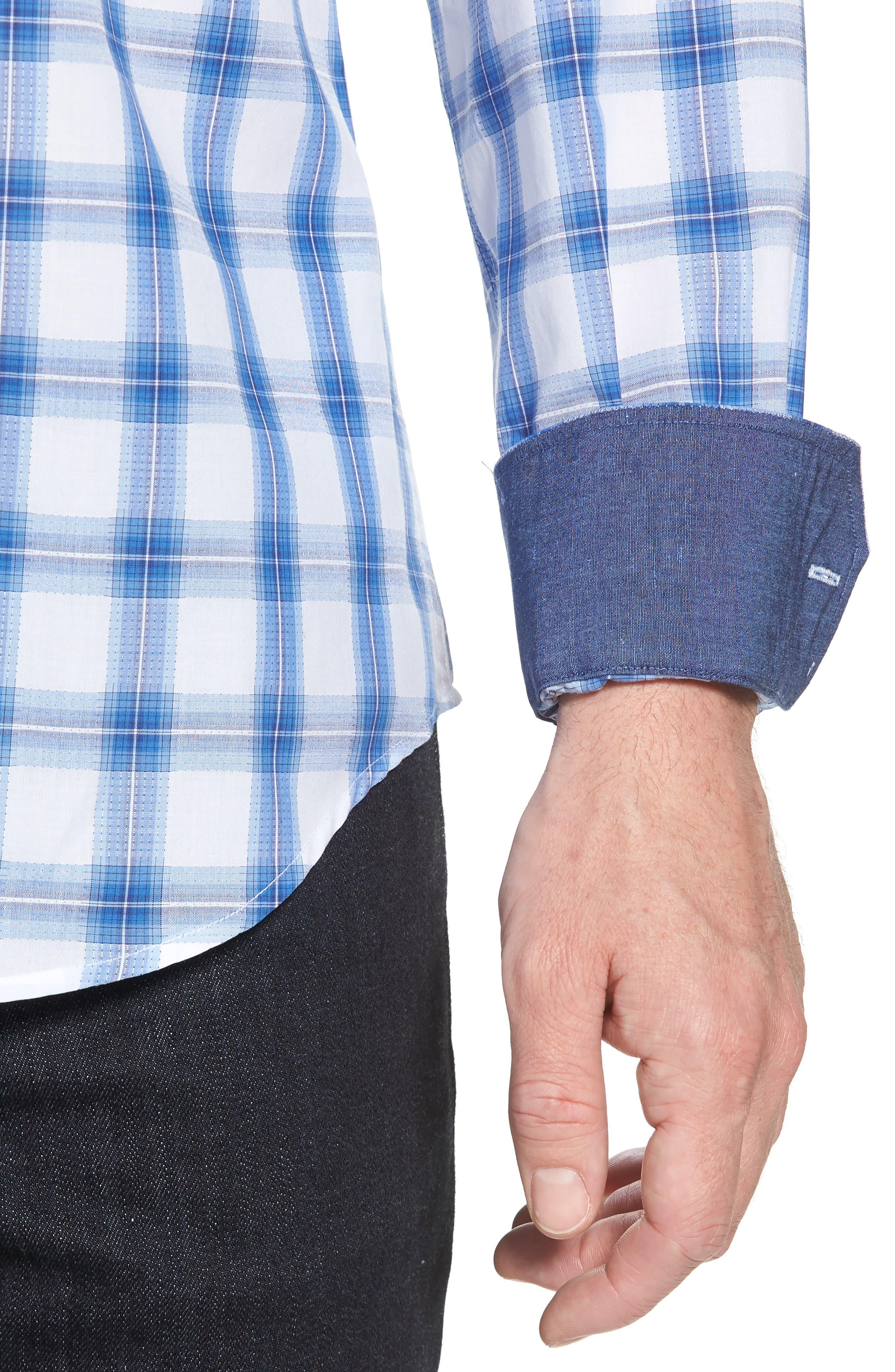 Shaped Fit Plaid Sport Shirt,                             Alternate thumbnail 2, color,                             Classic Blue
