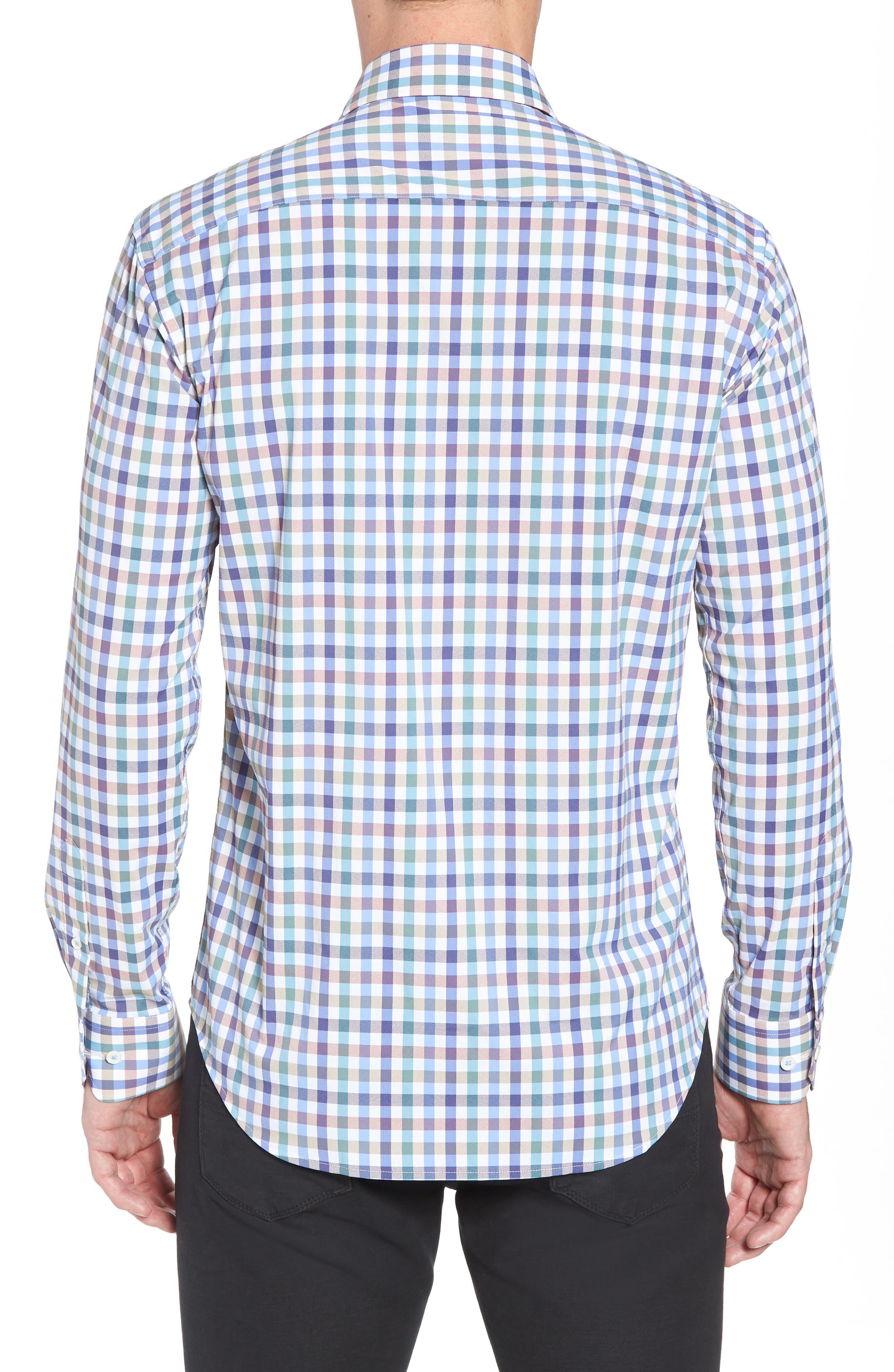 Shaped Fit Check Sport Shirt,                             Alternate thumbnail 3, color,                             Mocha