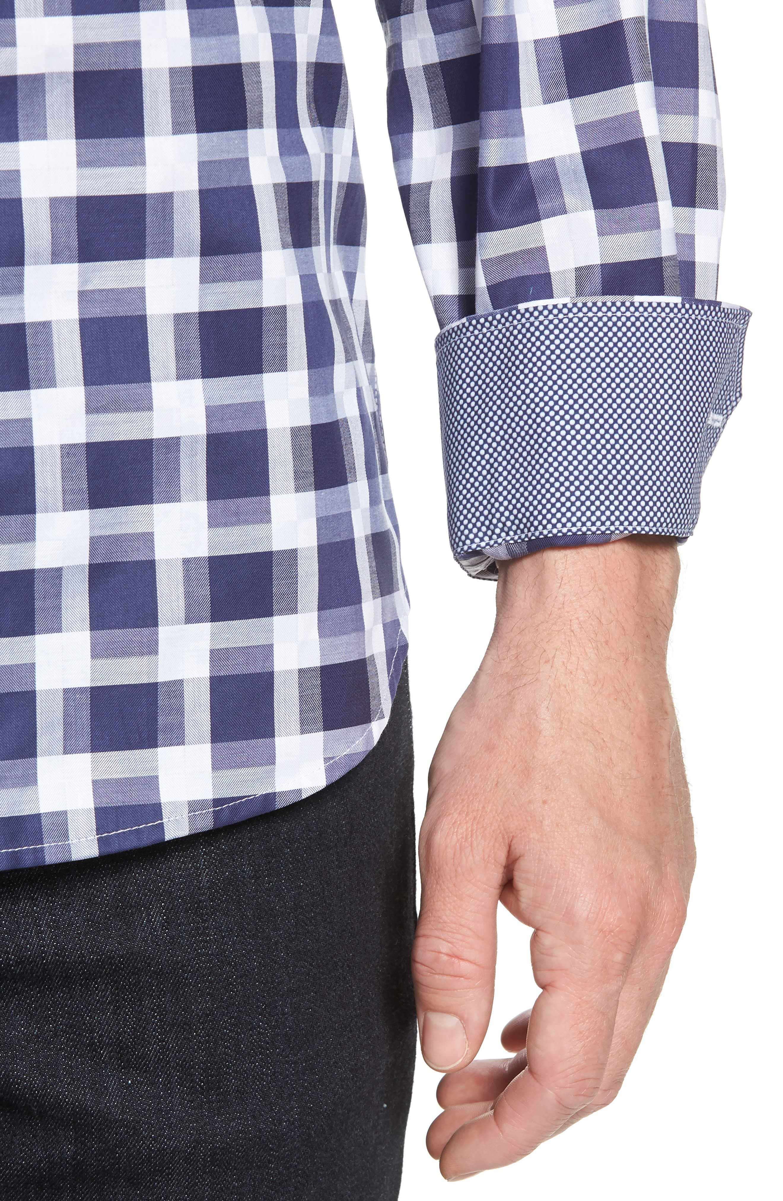 Shaped Fit Layered Grid Sport Shirt,                             Alternate thumbnail 2, color,                             Navy
