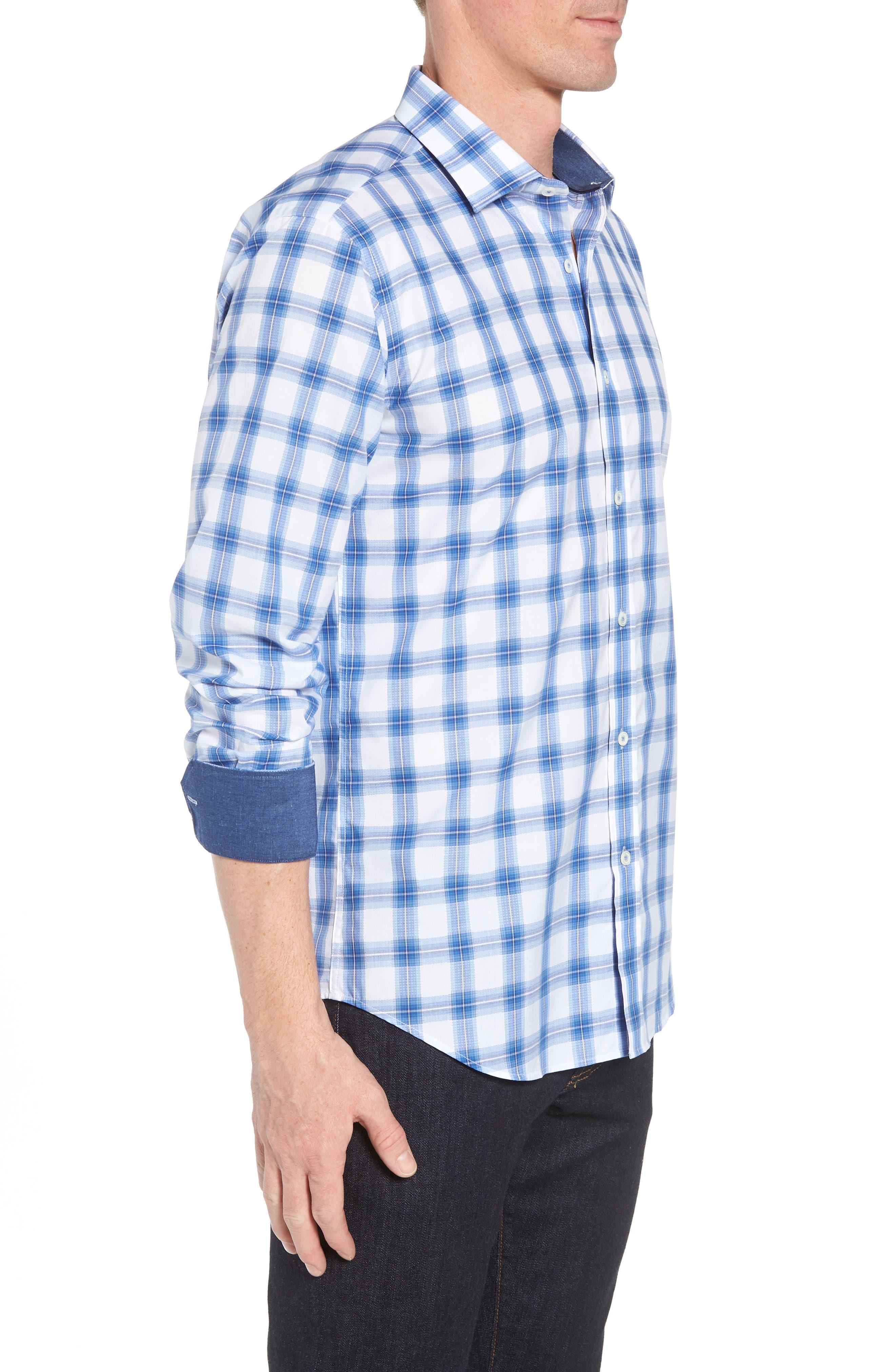 Shaped Fit Plaid Sport Shirt,                             Alternate thumbnail 4, color,                             Classic Blue