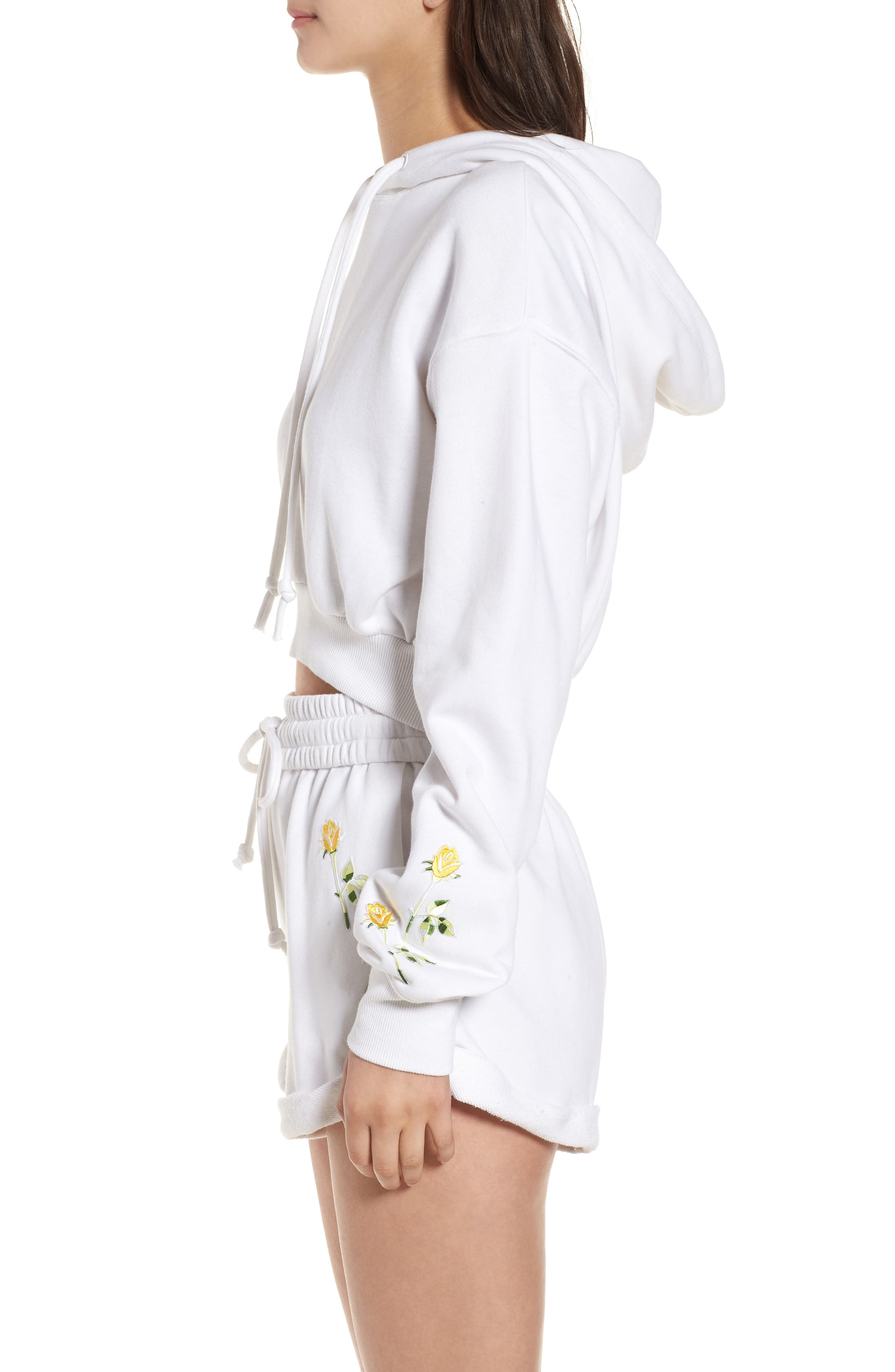 Crop Hoodie,                             Alternate thumbnail 3, color,                             Bright White