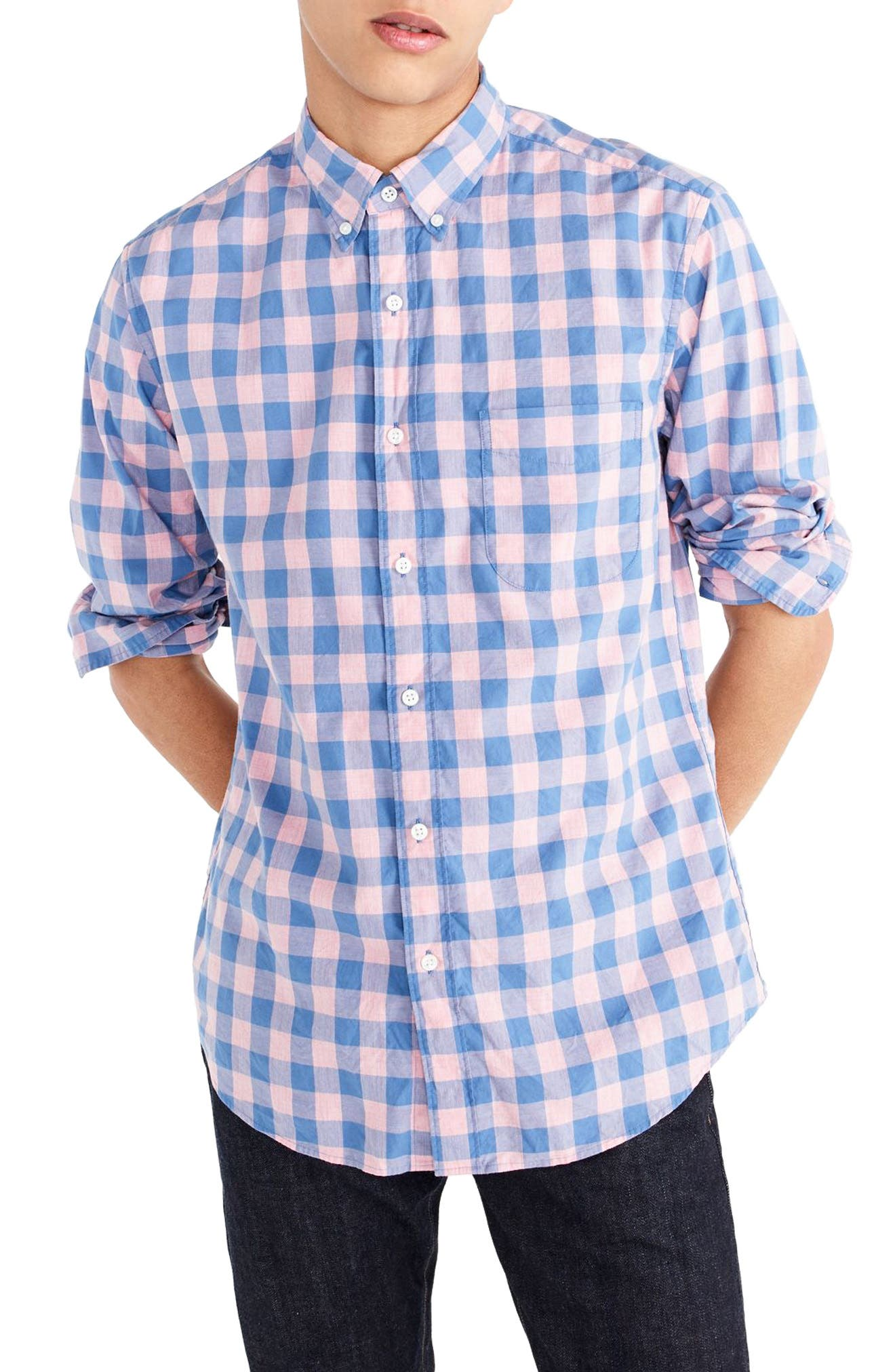 Slim Fit Stretch Secret Wash Gingham Sport Shirt,                         Main,                         color, Heather Peony