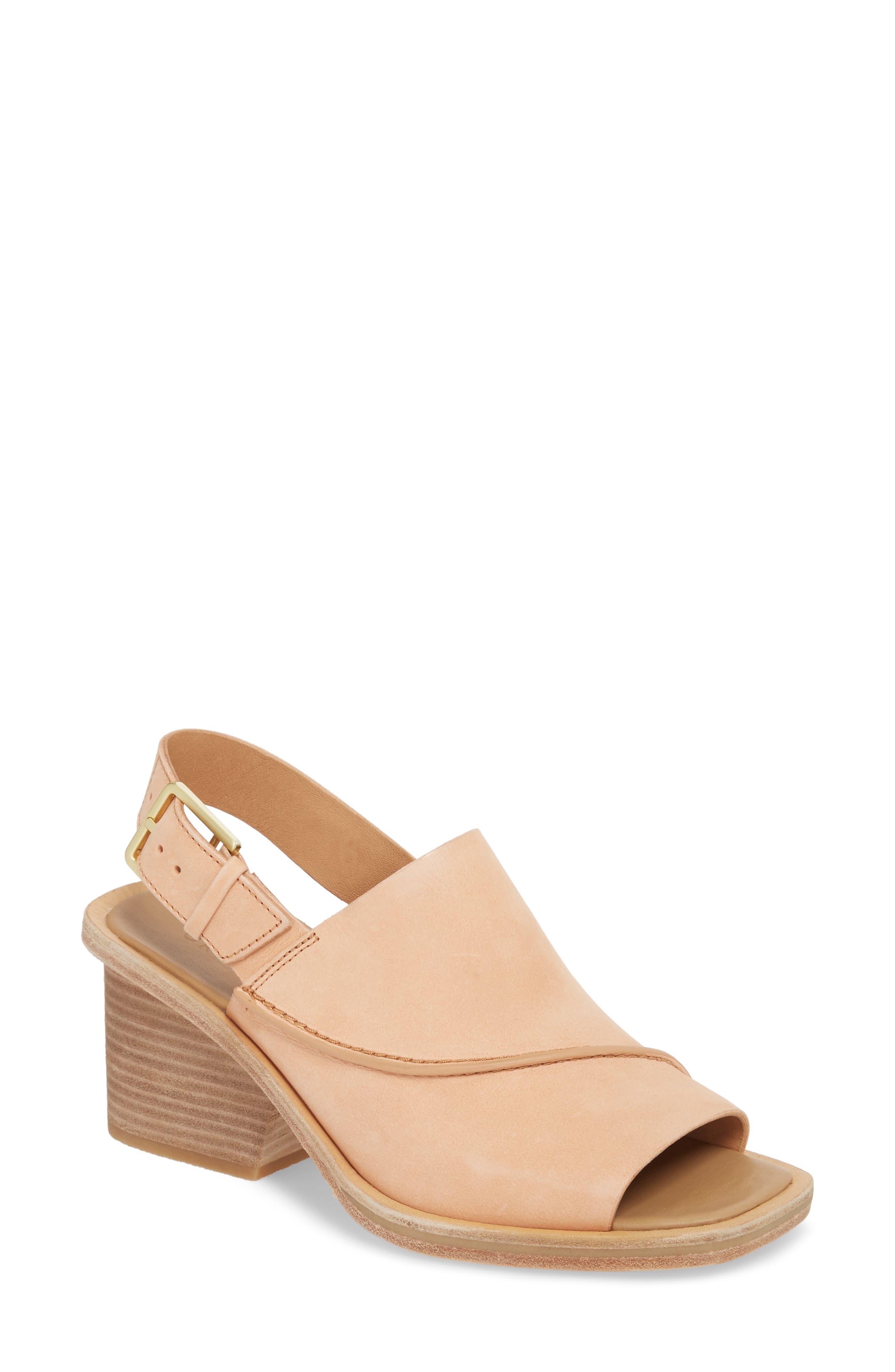 Clarks Bermudan Block Heel Sandal,                             Main thumbnail 1, color,                             Sandstone Nubuck Leather