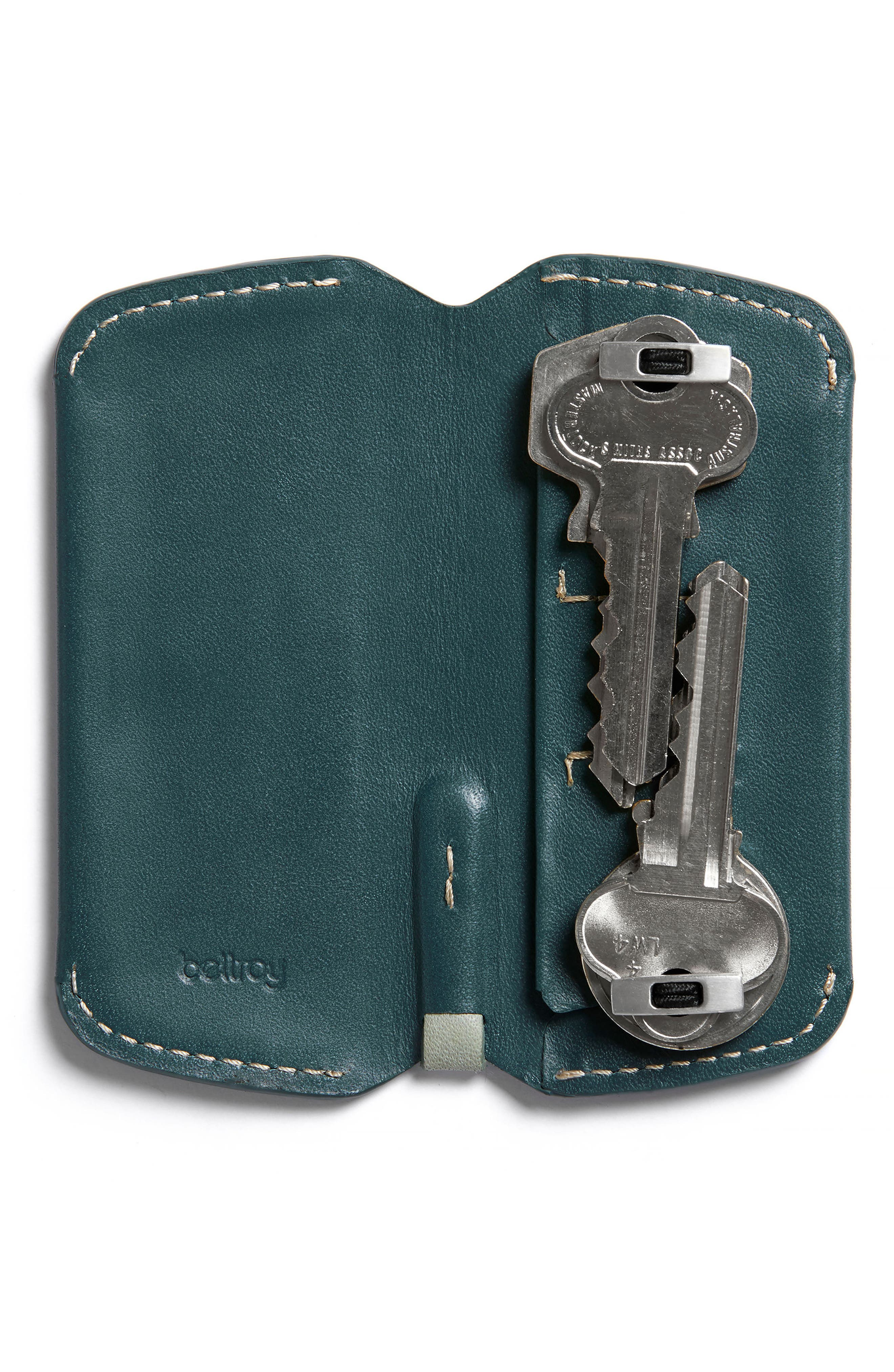 Leather Key Cover Plus,                             Main thumbnail 1, color,                             Teal