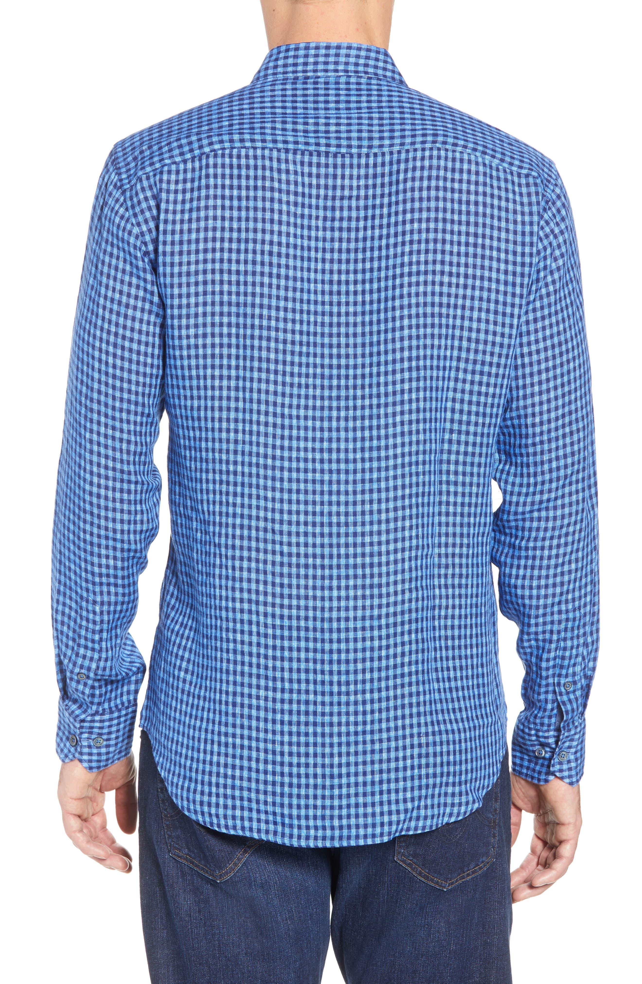 Shaped Fit Check Linen Sport Shirt,                             Alternate thumbnail 3, color,                             Classic Blue