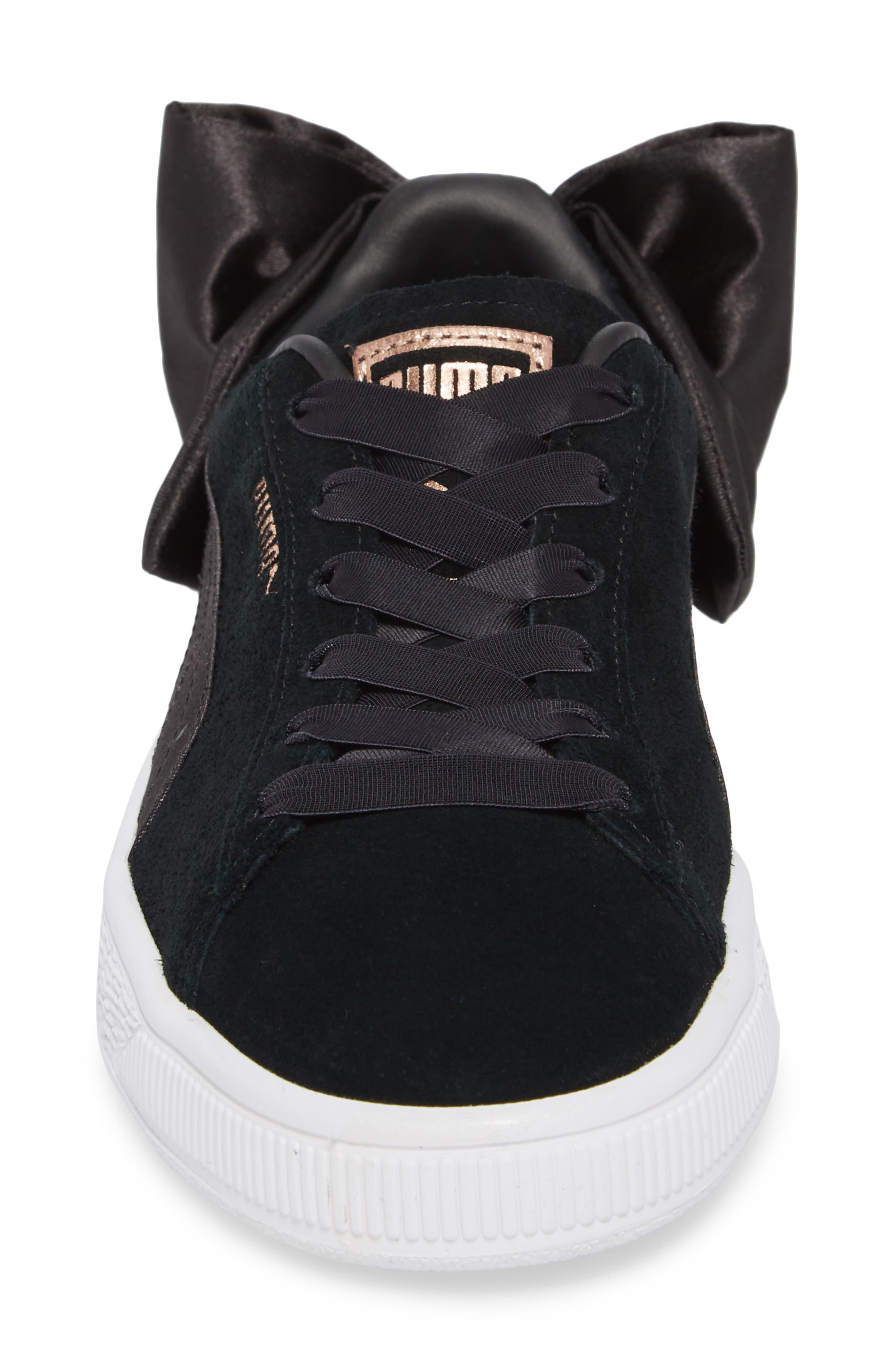 Bow Sneaker,                             Alternate thumbnail 4, color,                             Black/ Black