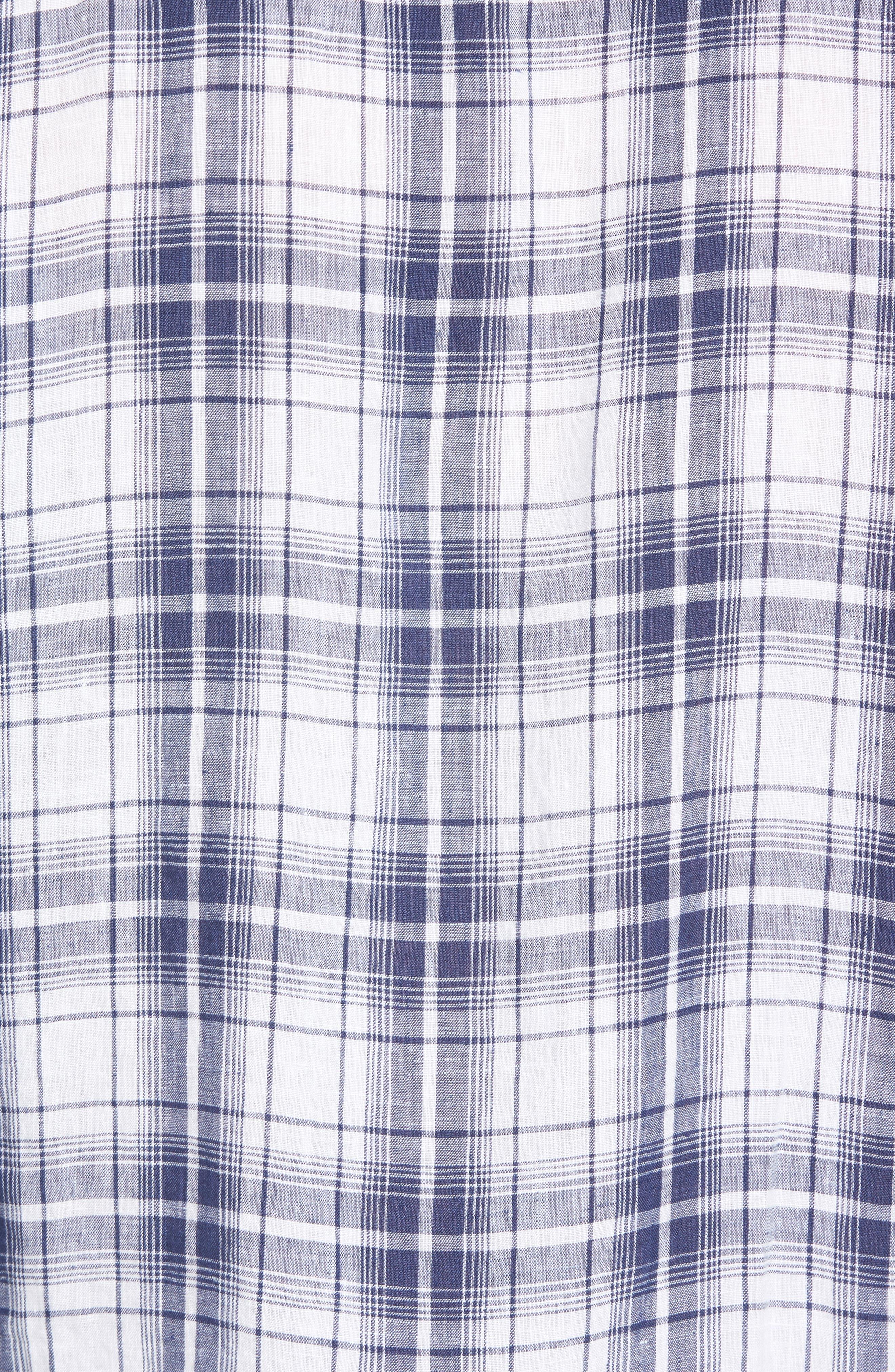 Shaped Fit Plaid Linen Sport Shirt,                             Alternate thumbnail 5, color,                             Navy