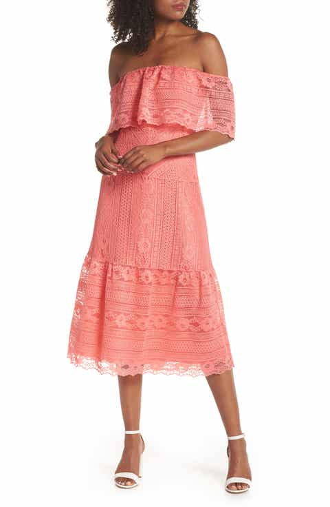 BB Dakota Katie Off the Shoulder Lace Midi Dress