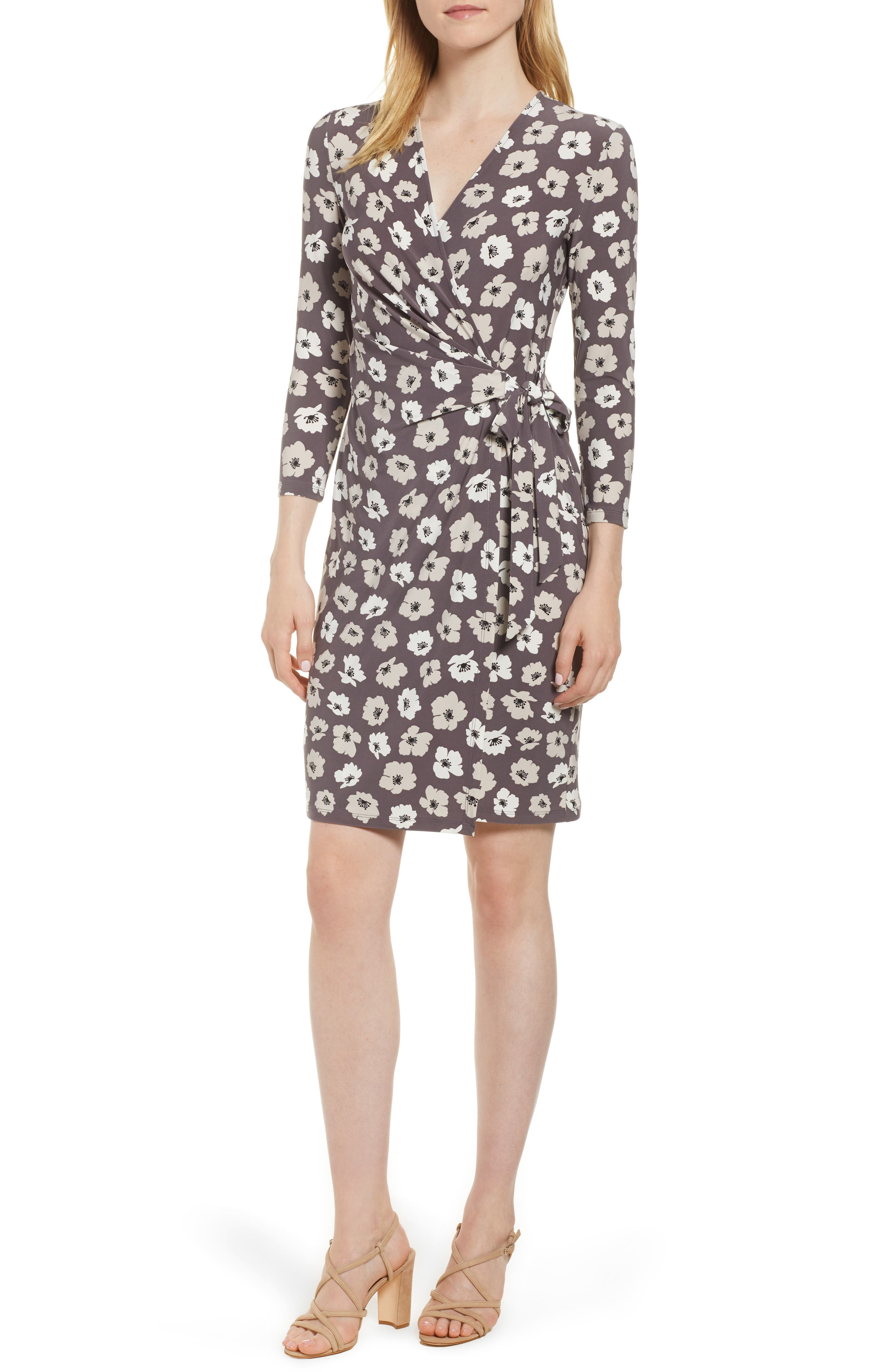 Floral Faux Wrap Dress,                         Main,                         color, Nantucket Grey/ Oyster Shell