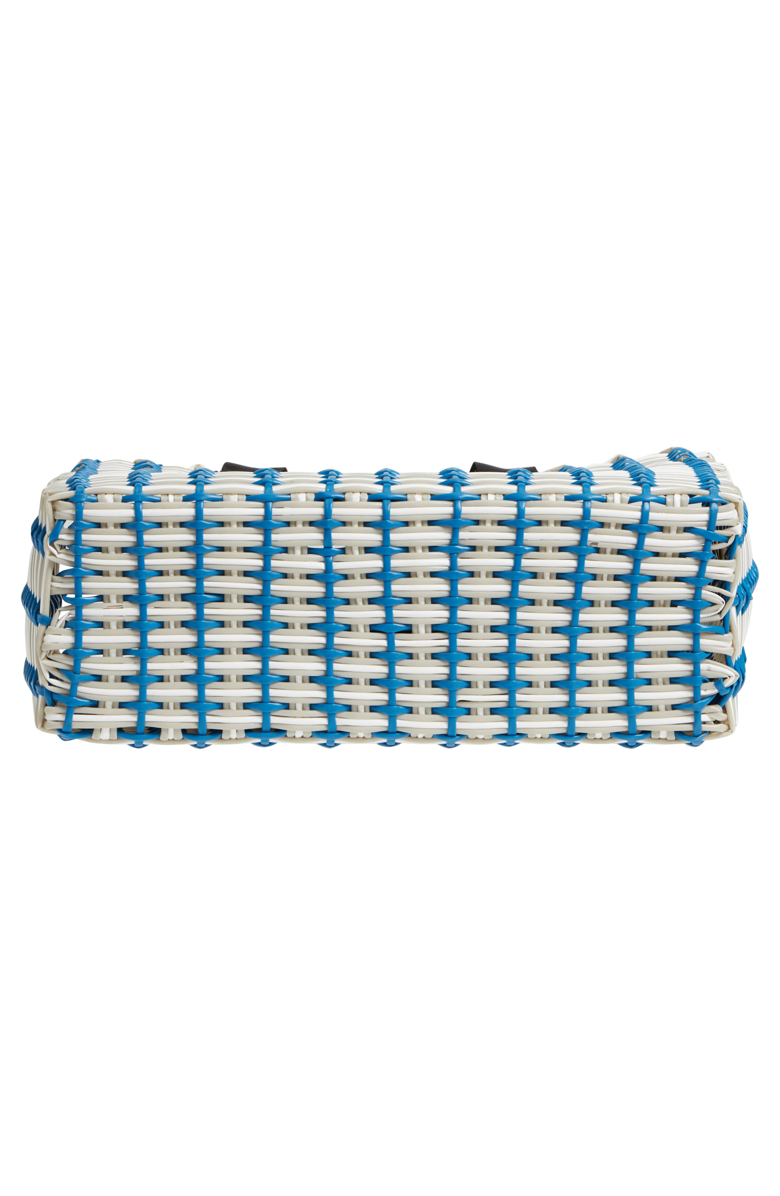 Stripe Woven Tote,                             Alternate thumbnail 6, color,                             Navy Blue