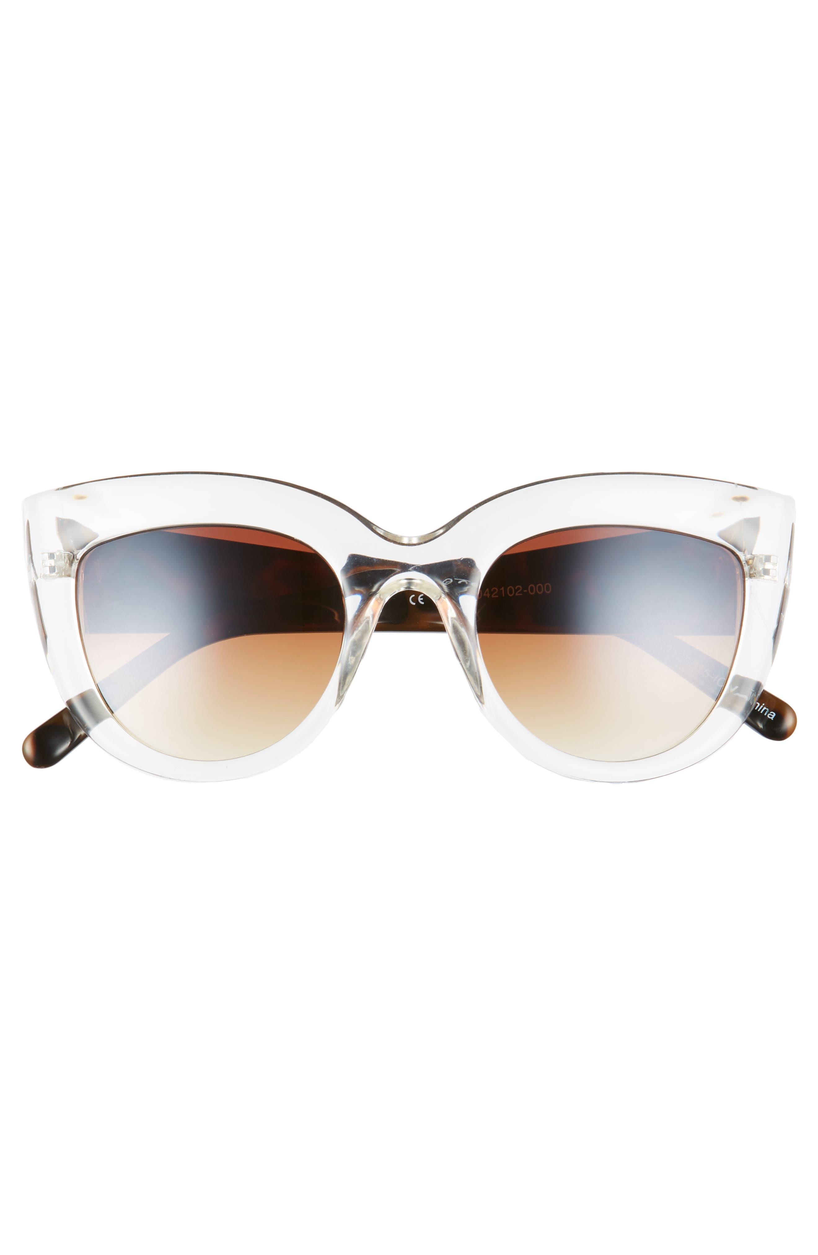 Translucent Cat Eye Sunglasses,                             Alternate thumbnail 3, color,                             Tort/ Clear