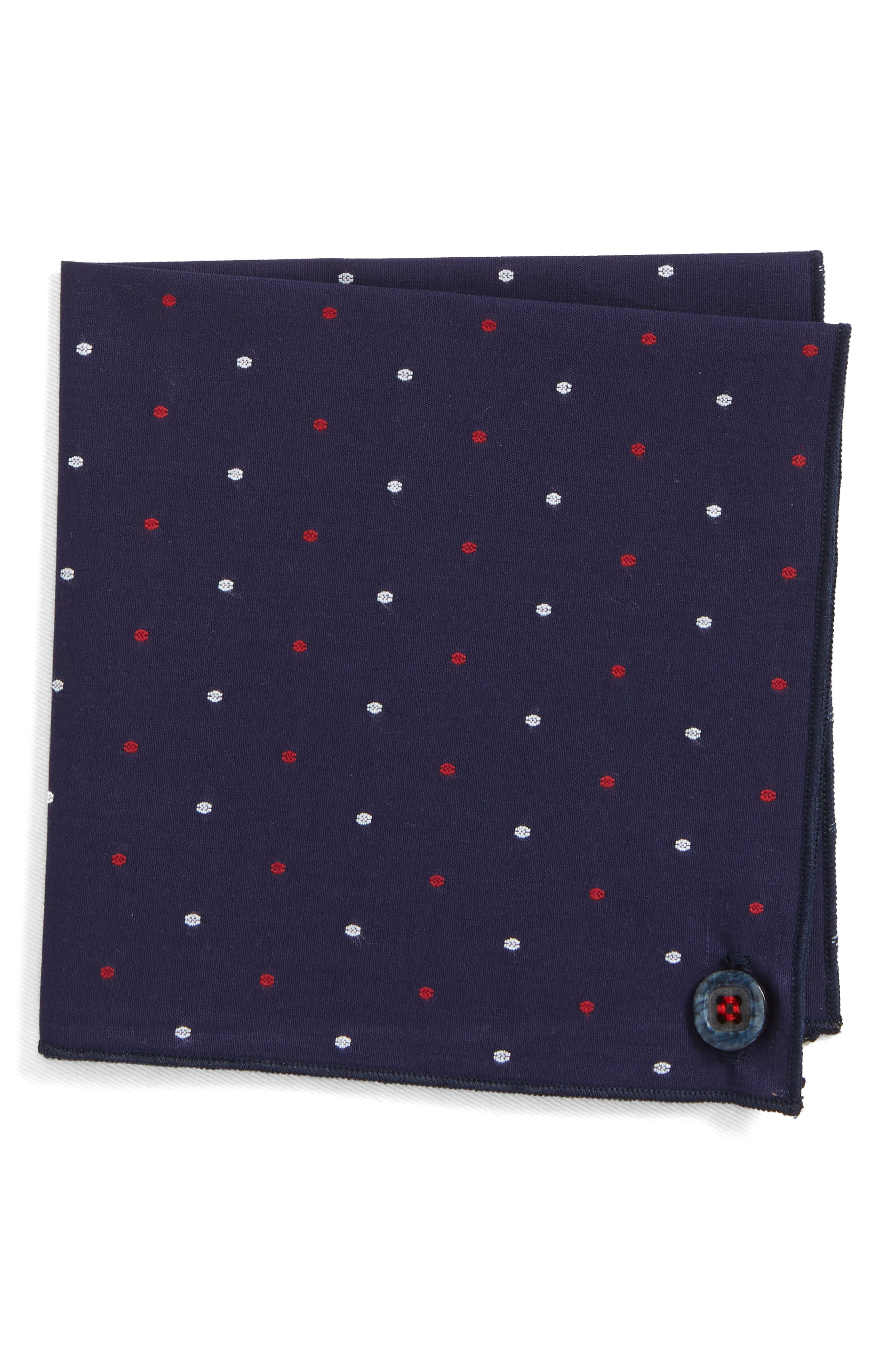 Navy Lee Cotton Pocket Square,                         Main,                         color, Navy