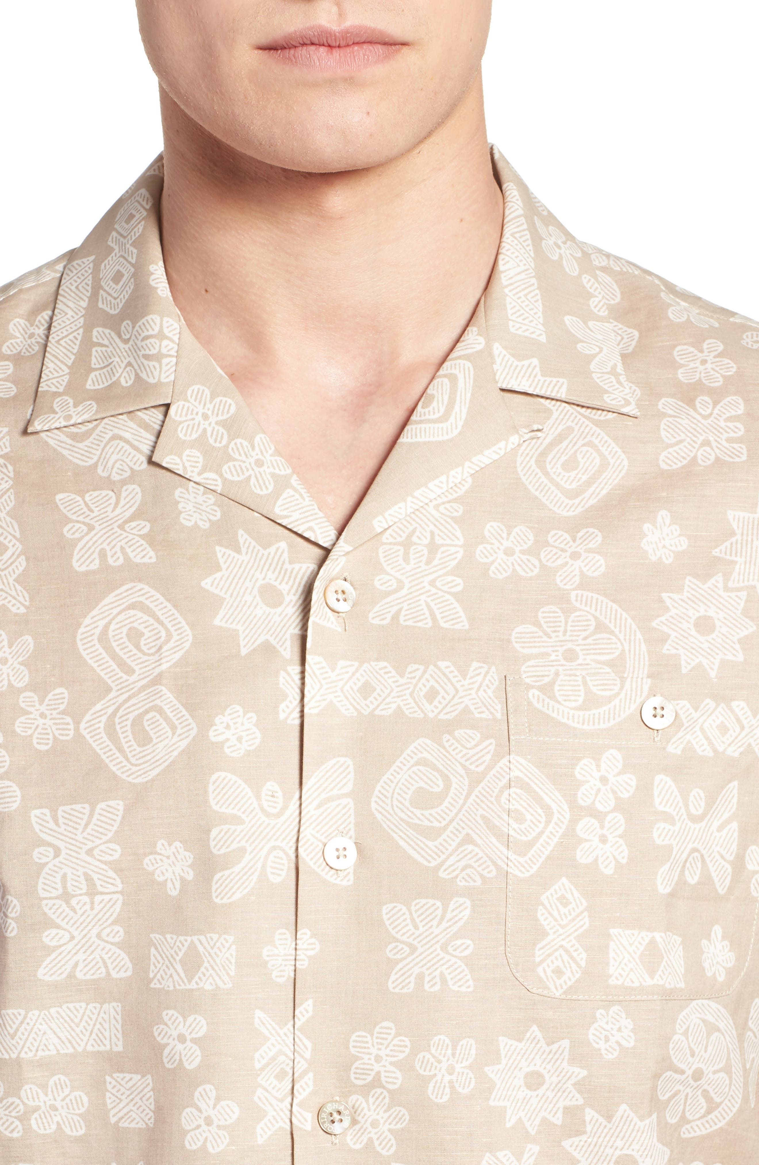 Tapa Twist Trim Fit Linen & Cotton Camp Shirt,                             Alternate thumbnail 2, color,                             Tan