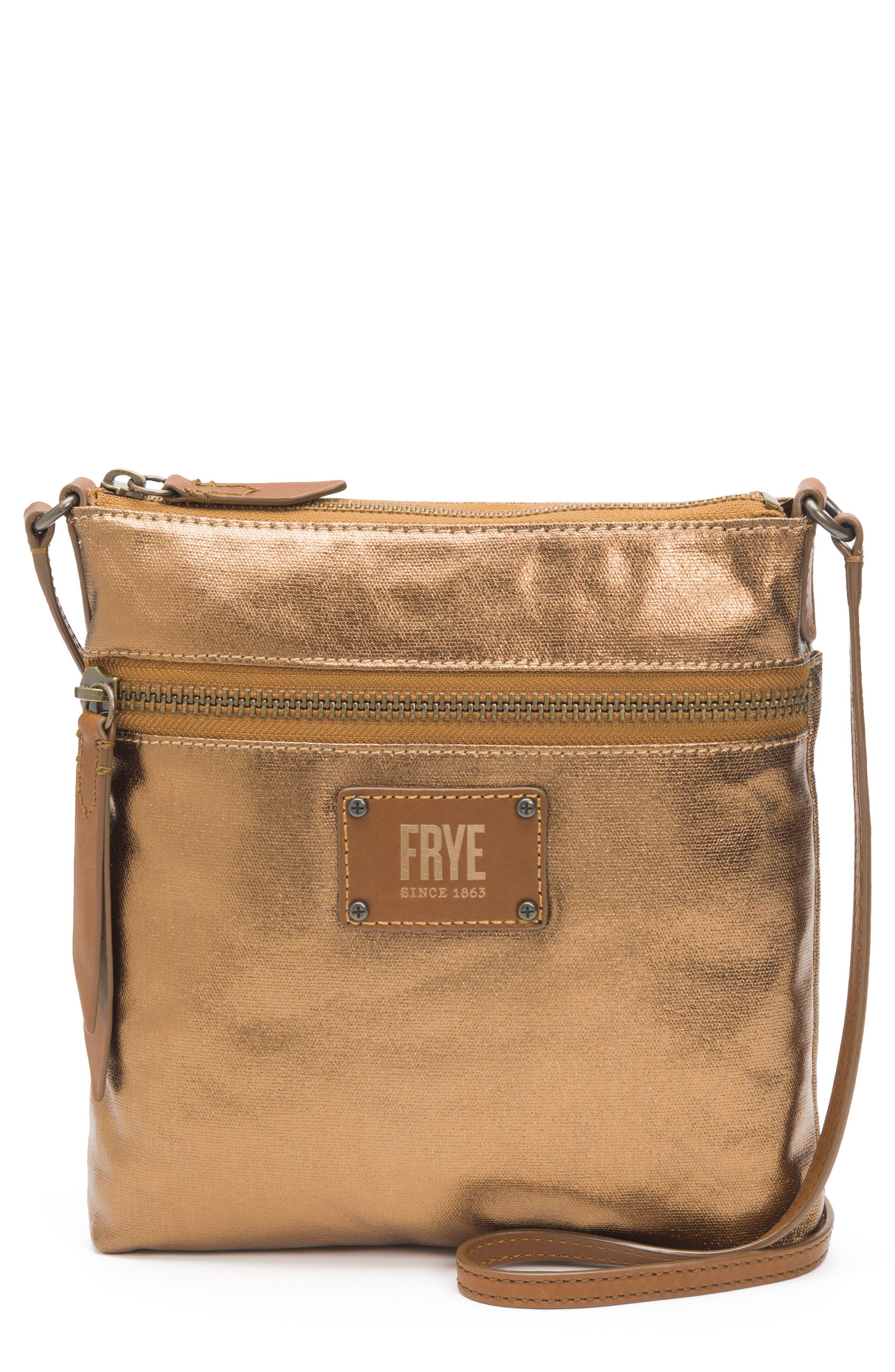 Ivy Metallic Nylon Crossbody Bag,                         Main,                         color, Bronze