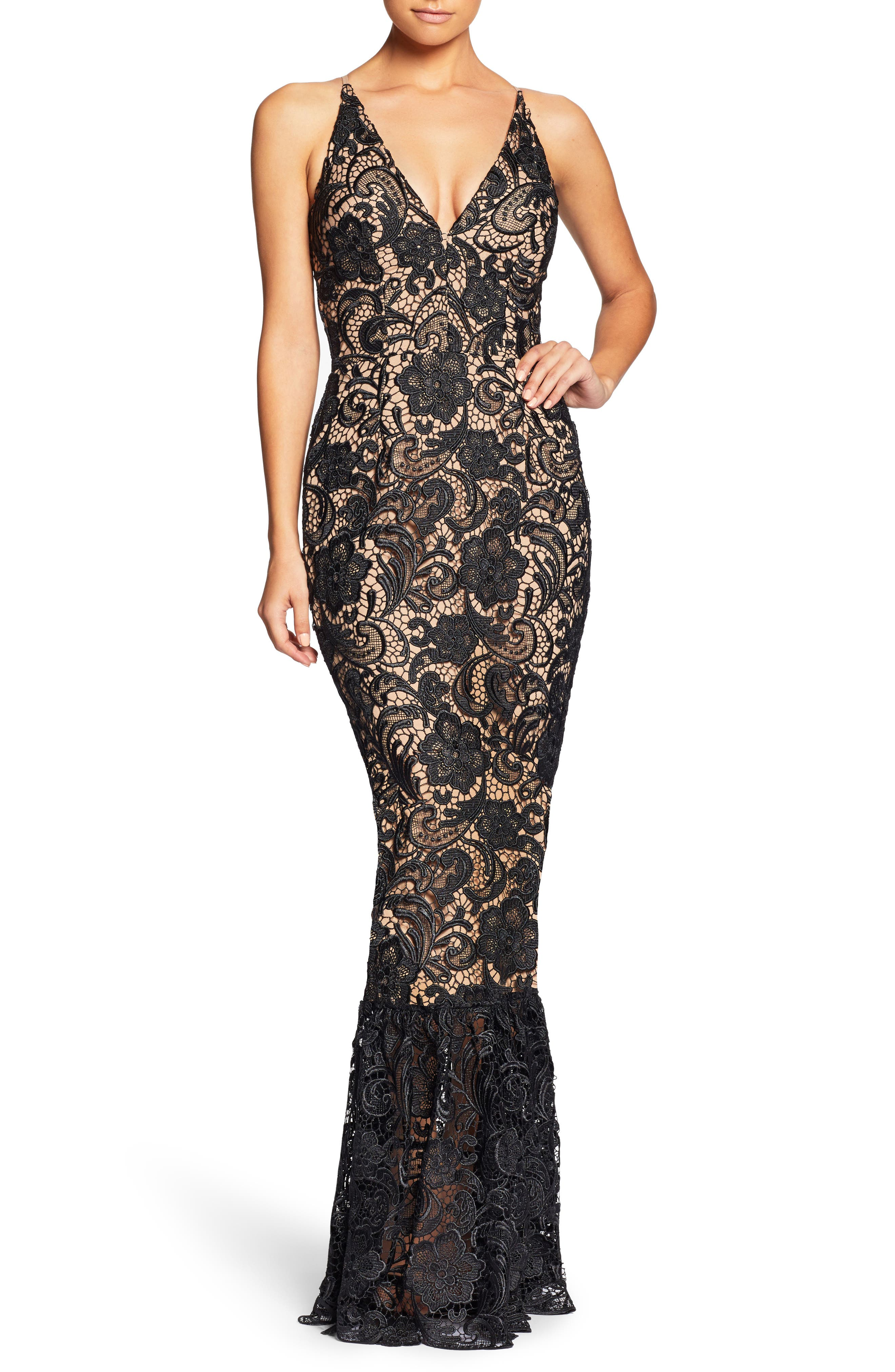 Sophia Crochet Lace Mermaid Gown,                         Main,                         color, Black/ Nude