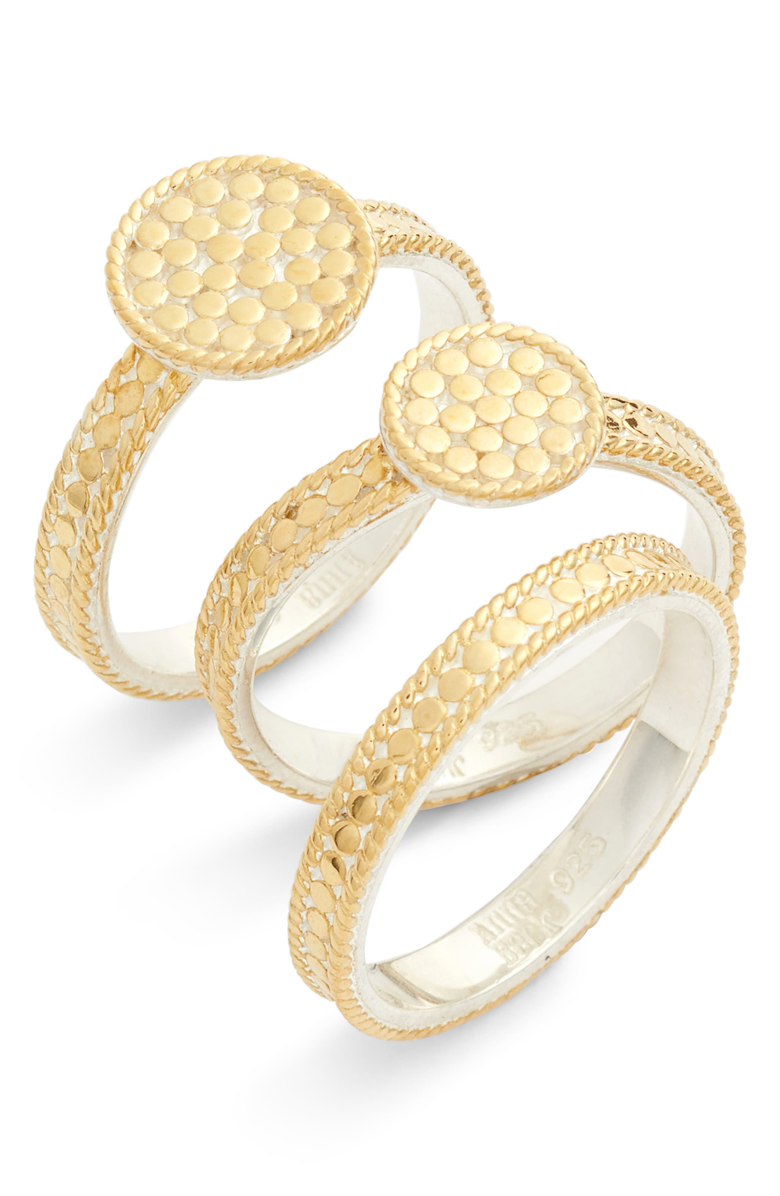 Gold Plate Disc Set of 3 Stacking Rings,                         Main,                         color, Gold