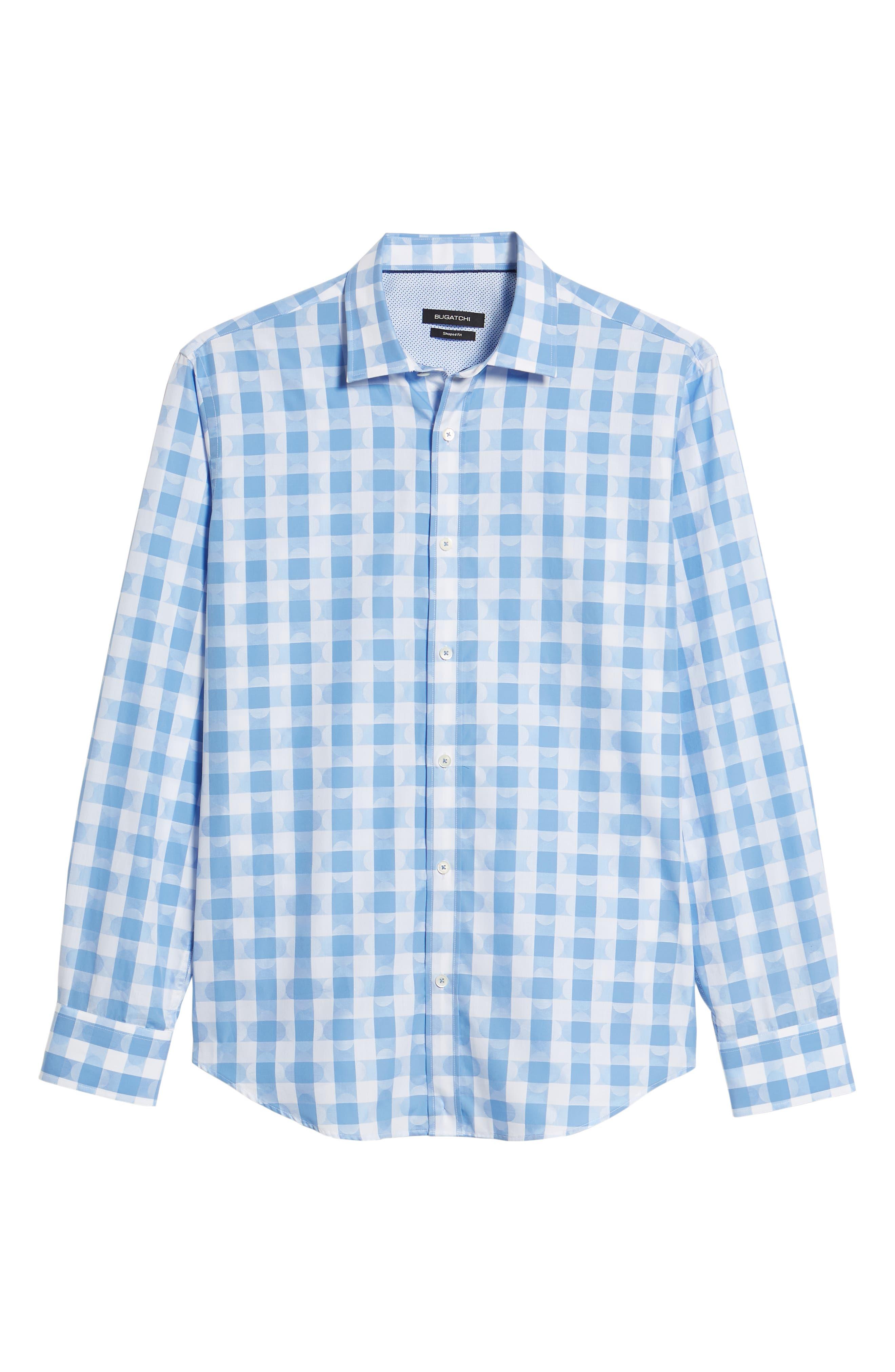 Shaped Fit Jacquard Gingham Sport Shirt,                             Alternate thumbnail 6, color,                             Classic Blue