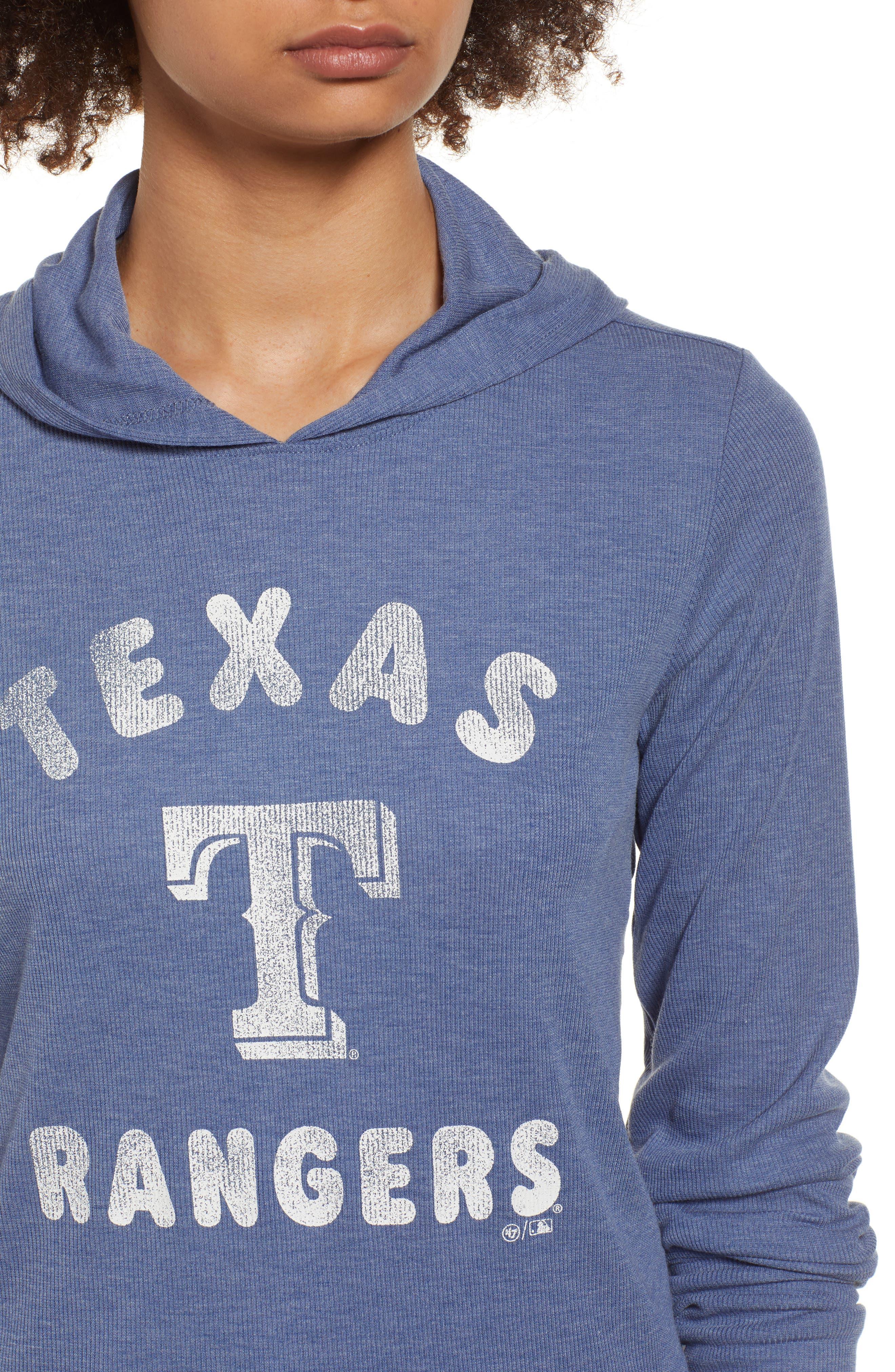 Campbell Texas Rangers Rib Knit Hooded Top,                             Alternate thumbnail 4, color,                             Bleacher Blue