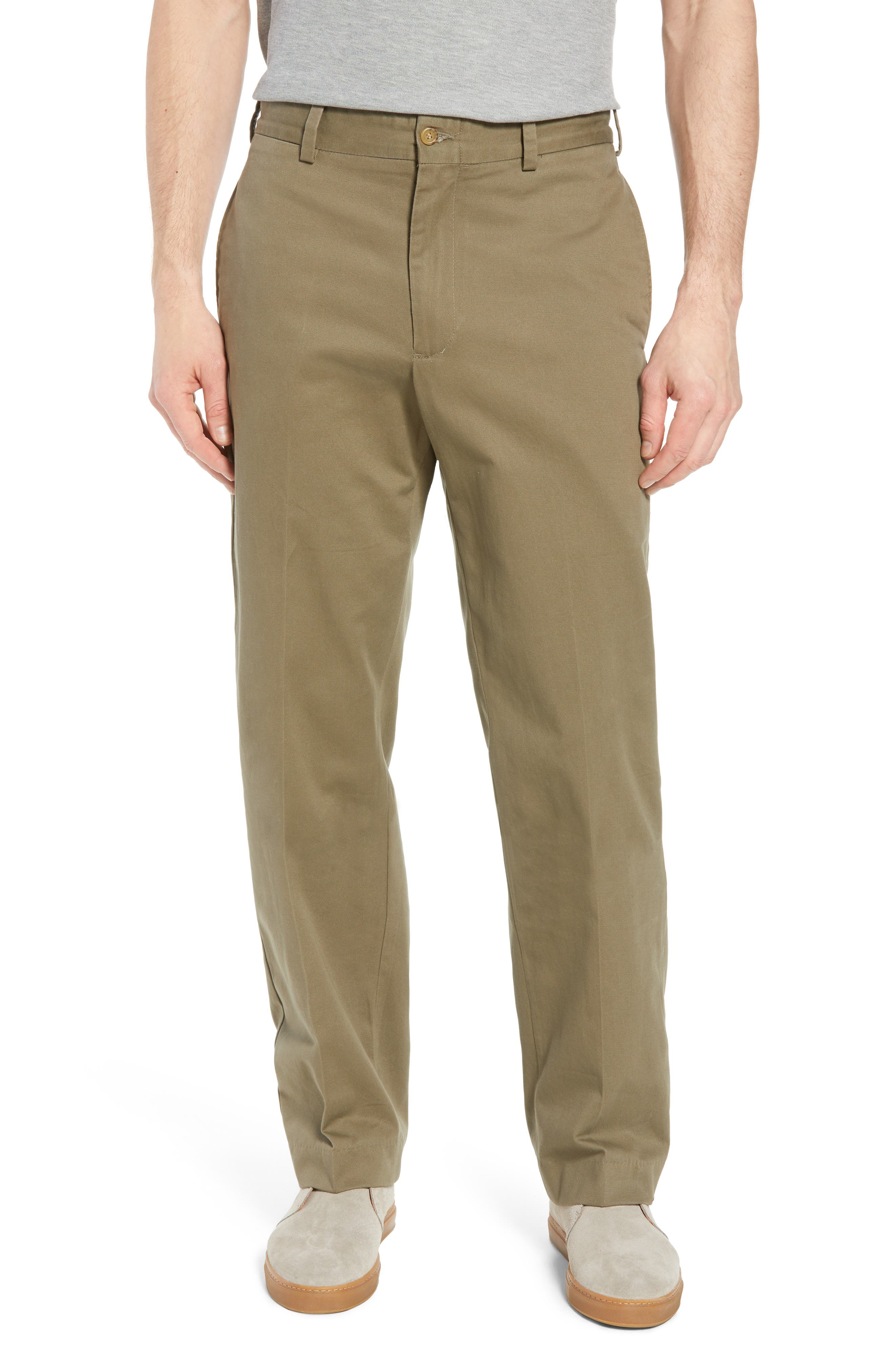 M2 Classic Fit Flat Front Vintage Twill Pants,                         Main,                         color, Olive