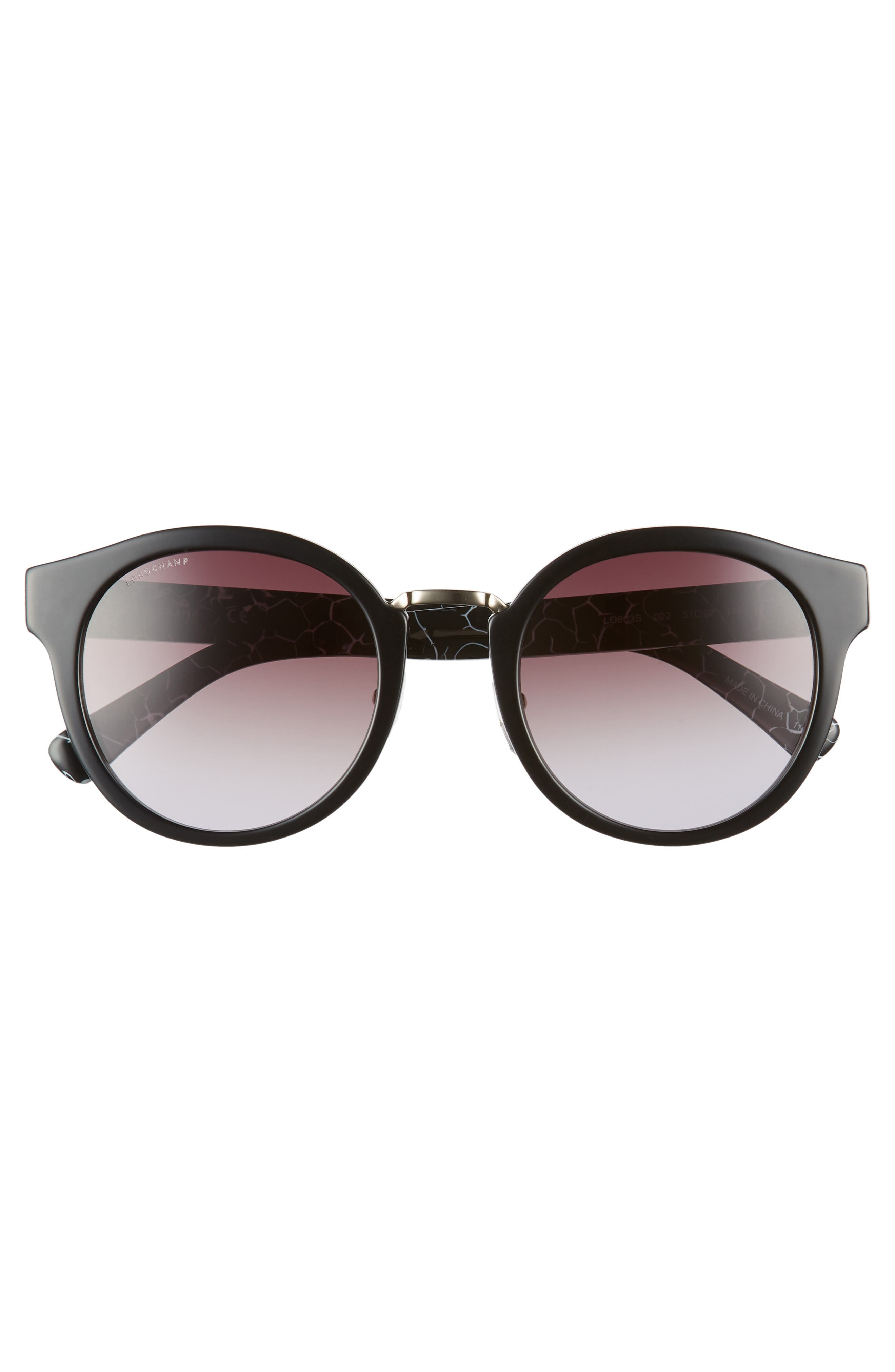 51mm Round Sunglasses,                             Alternate thumbnail 3, color,                             Marble Black