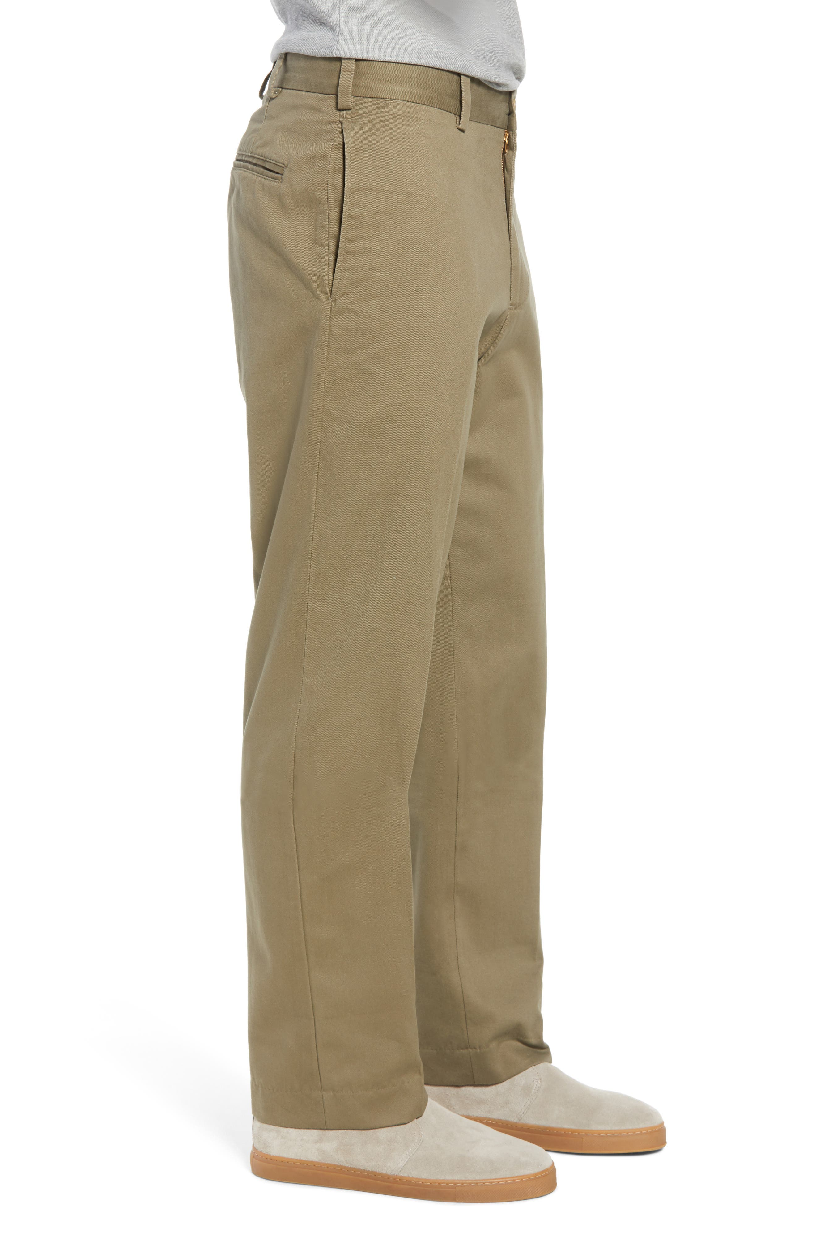 M2 Classic Fit Flat Front Vintage Twill Pants,                             Alternate thumbnail 3, color,                             Olive