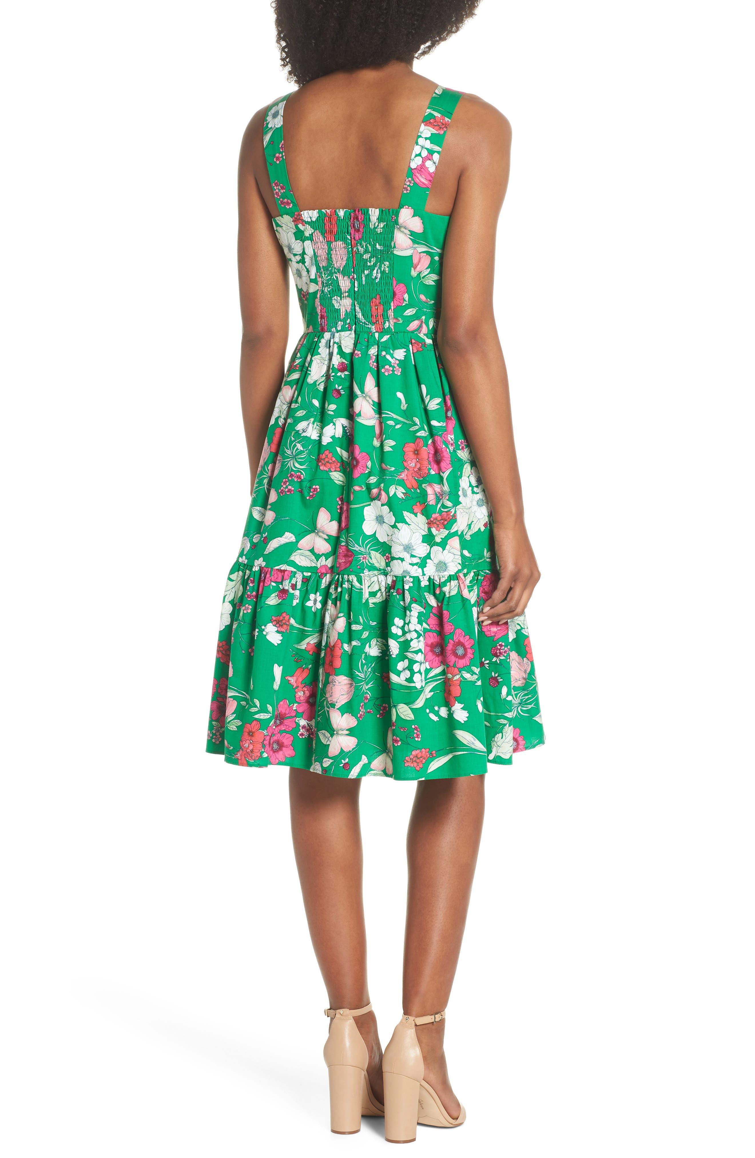 Ruffle Hem Cotton Fit & Flare Sundress,                             Alternate thumbnail 2, color,                             Green