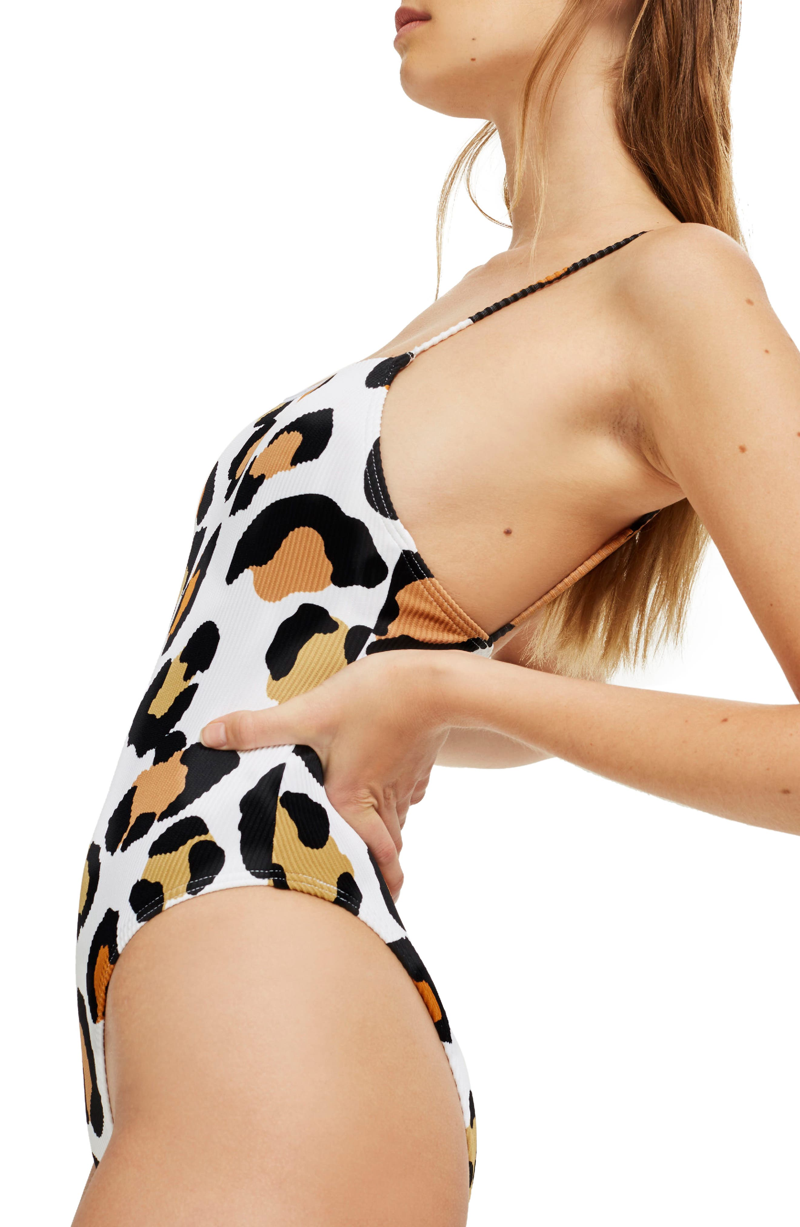 Leopard Rib One-Piece Swimsuit,                             Alternate thumbnail 3, color,                             White Multi