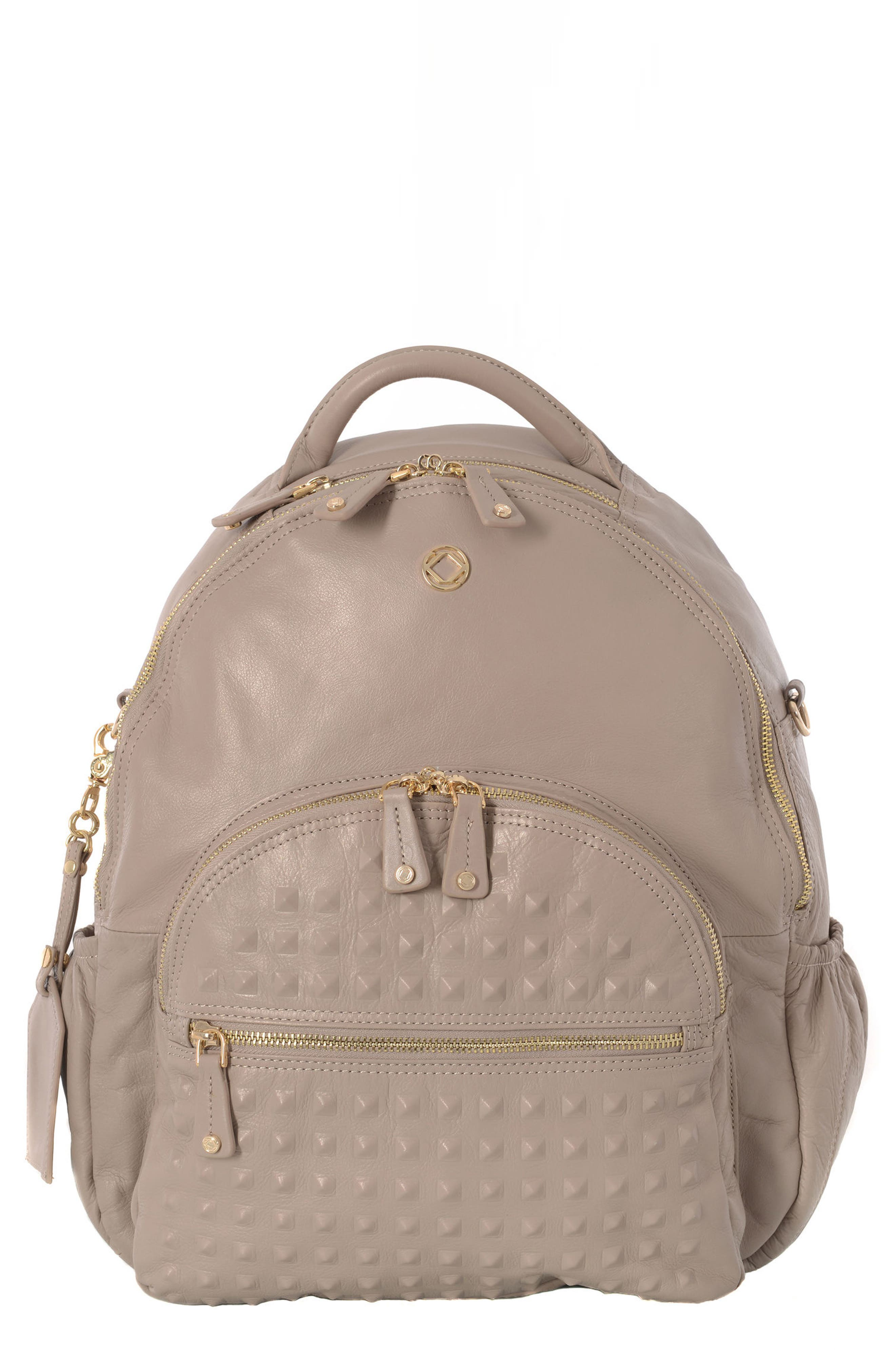 Joy Studded Diaper Backpack,                         Main,                         color, Taupe With Gold Harware