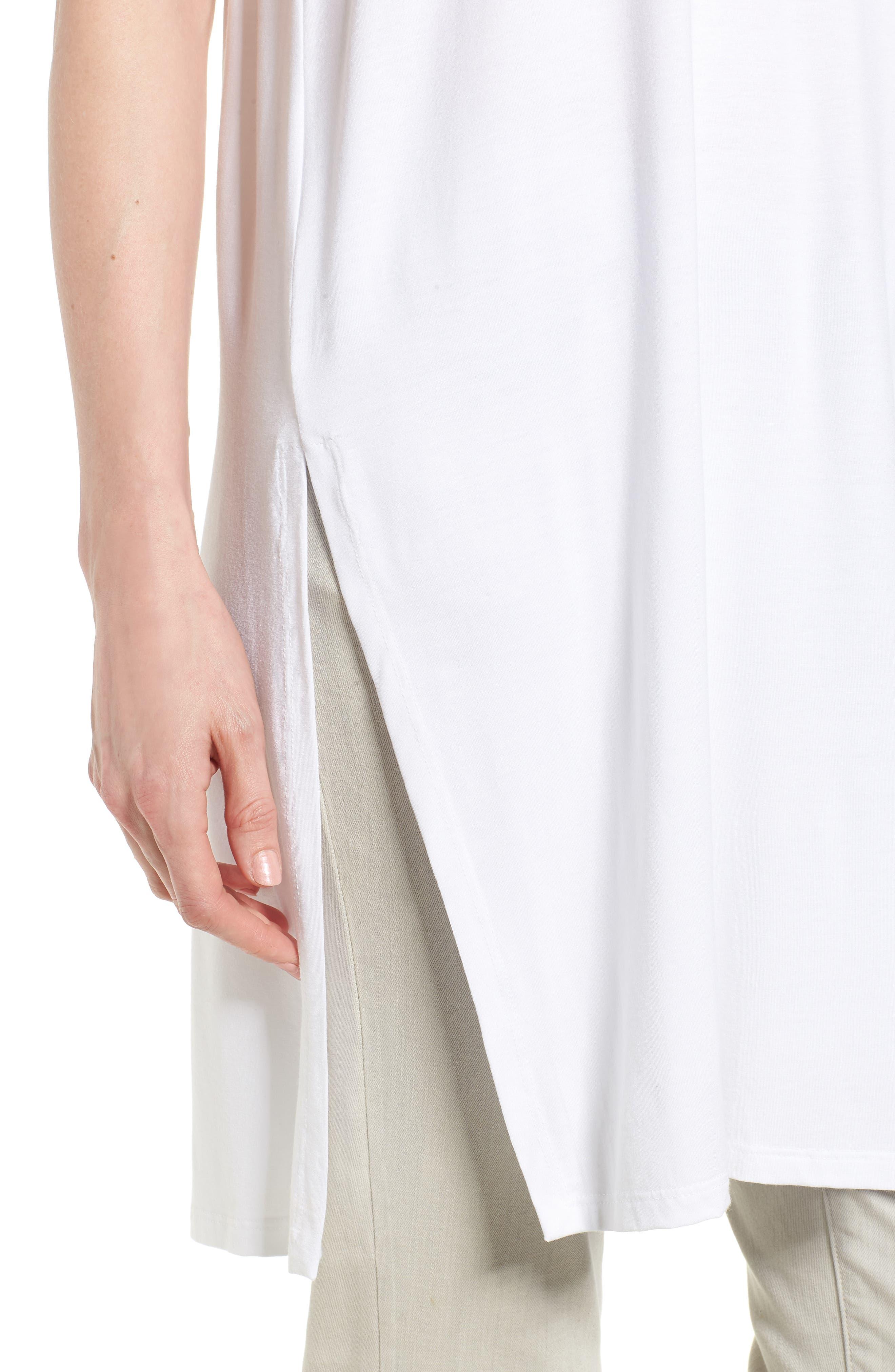 Long Jersey Tunic,                             Alternate thumbnail 4, color,                             White