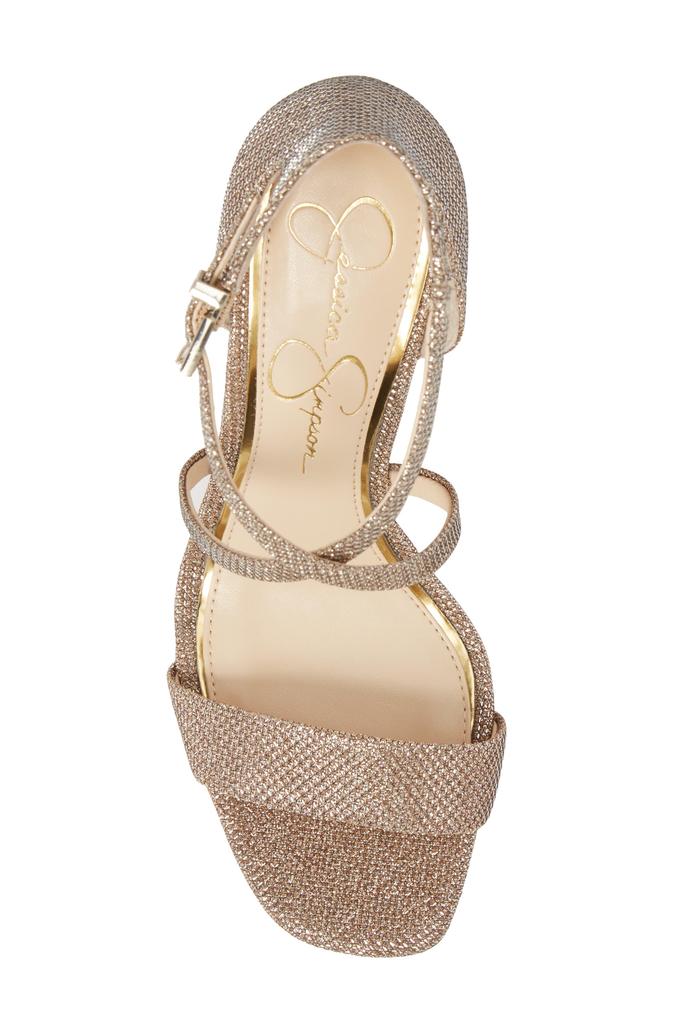 Stassi Cross Strap Wedge Sandal,                             Alternate thumbnail 4, color,                             Gold