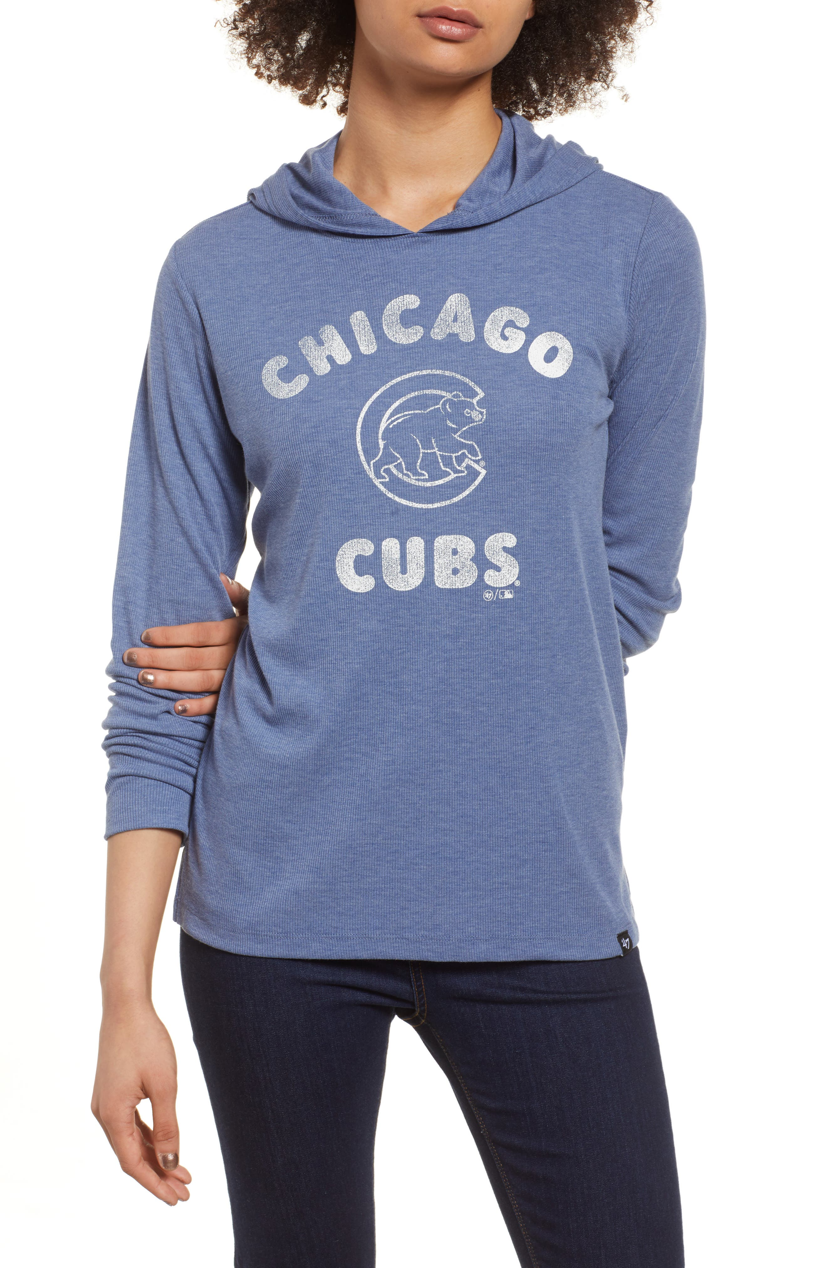 Campbell Chicago Cubs Rib Knit Hoodie,                             Main thumbnail 1, color,                             Bleacher Blue