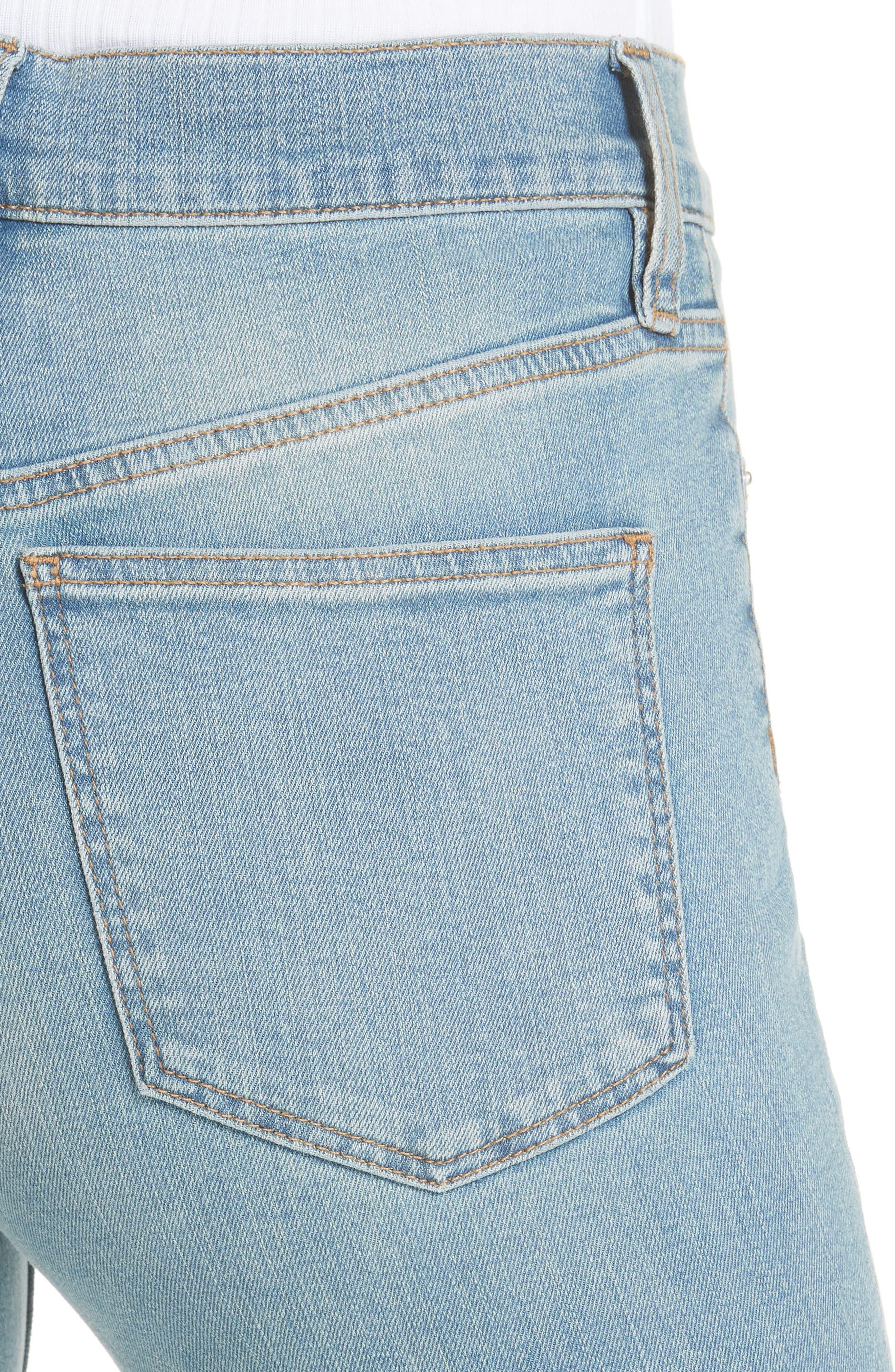 Long & Lean High Waist Denim Leggings,                             Alternate thumbnail 4, color,                             Light Denim