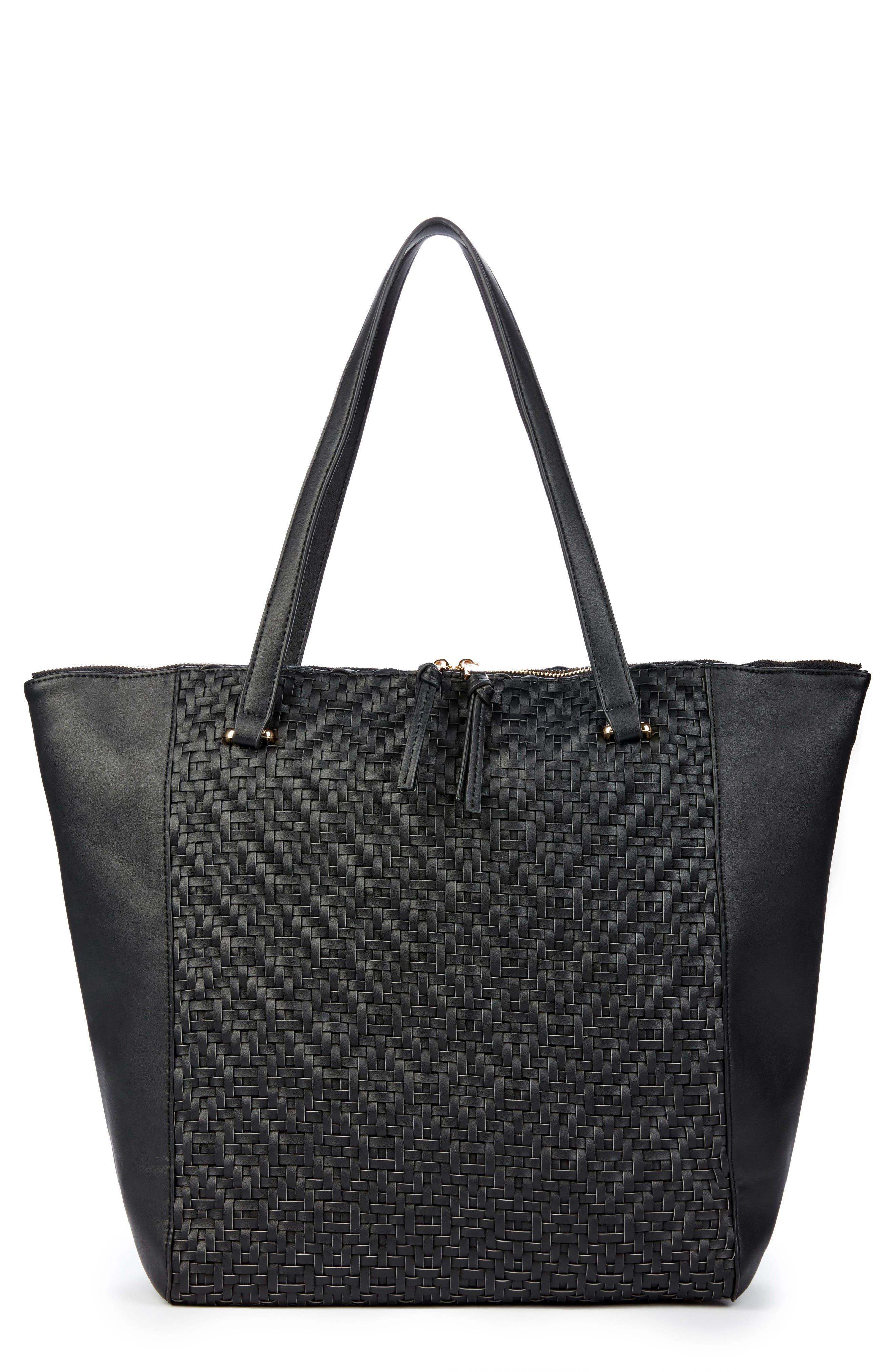Woven Faux Leather Tote,                         Main,                         color, Black