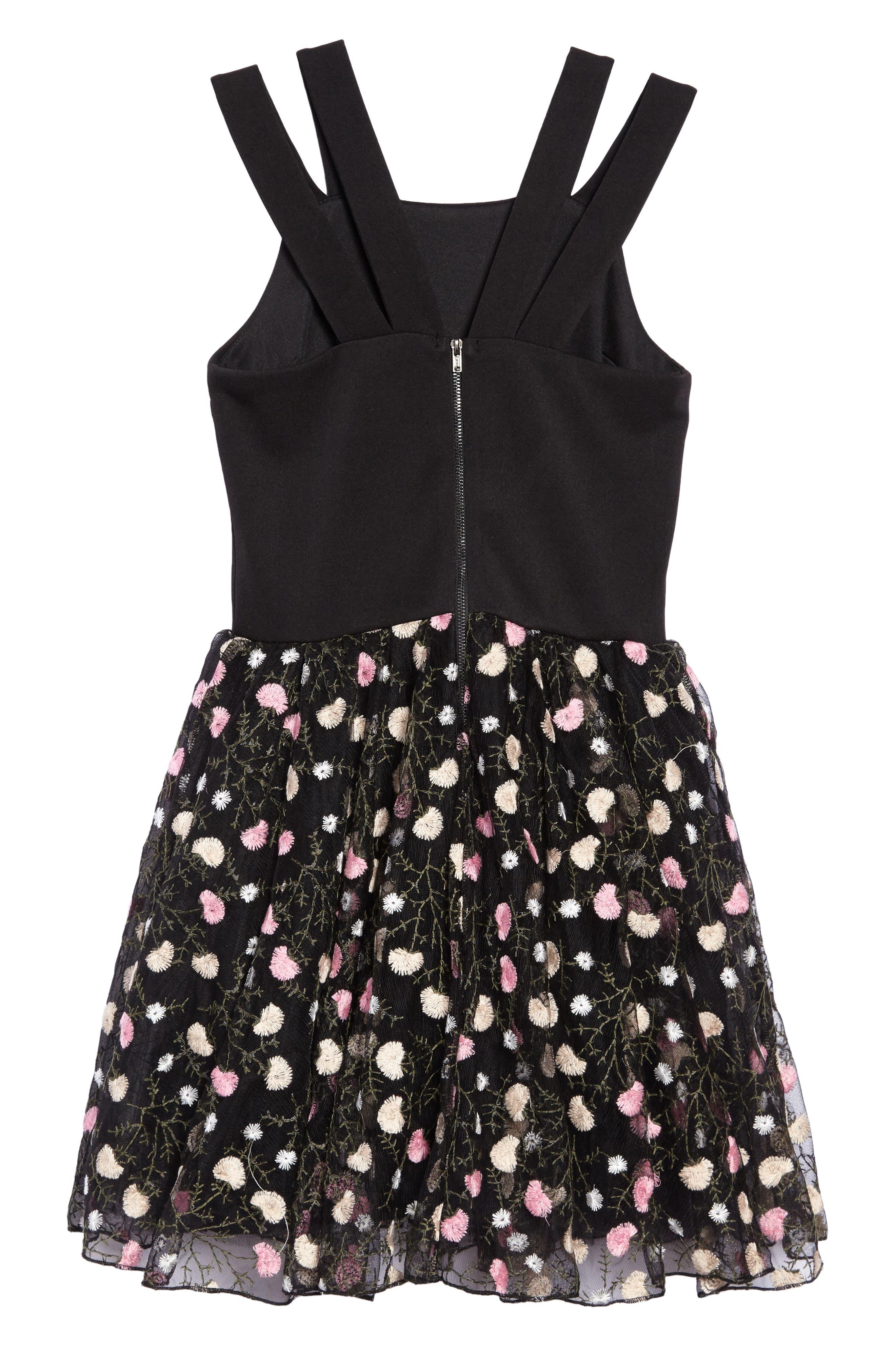 Nancy Embroidered Mesh Dress,                             Alternate thumbnail 2, color,                             Black