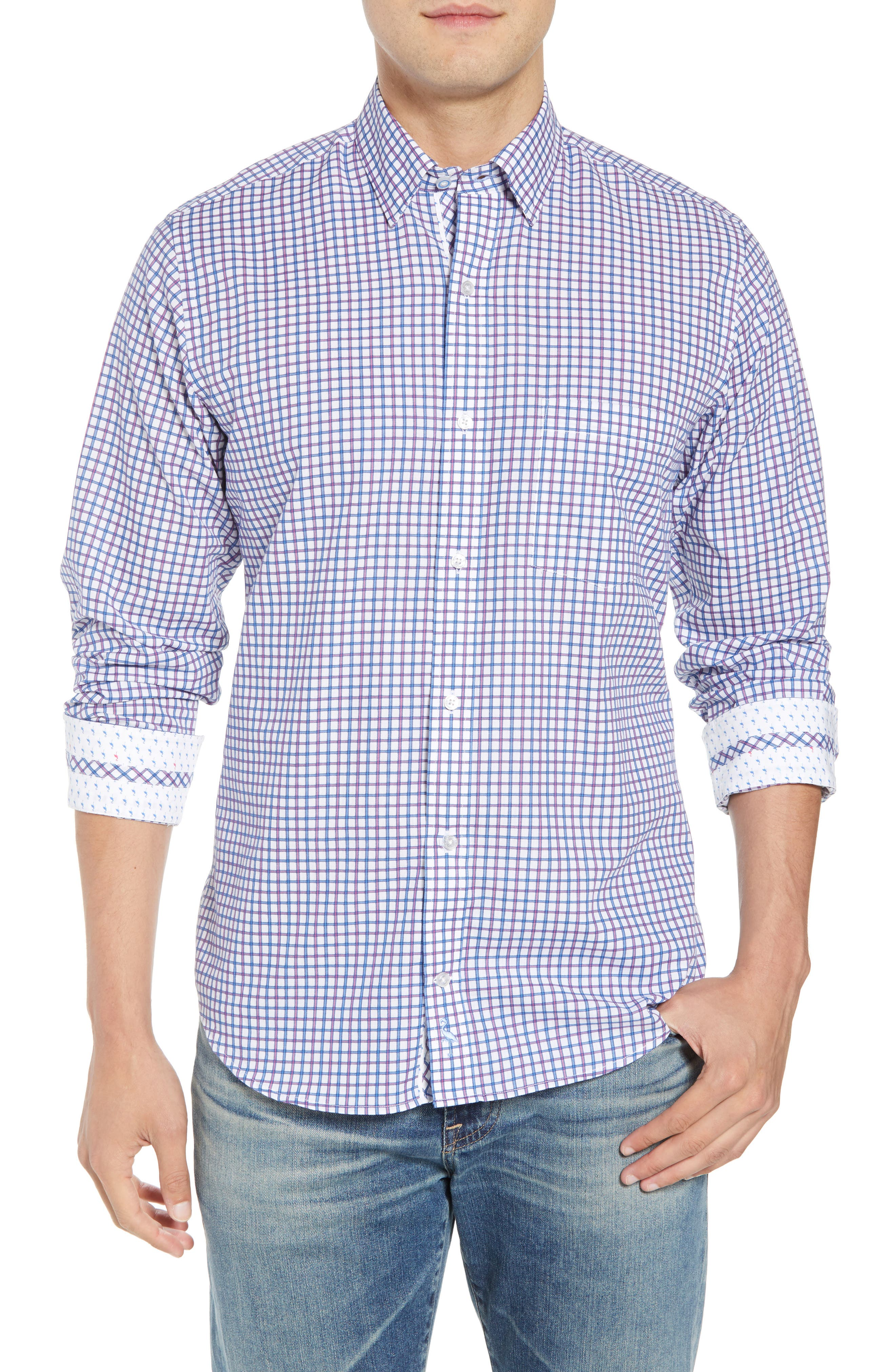 Beck Regular Fit Windowpane Sport Shirt,                         Main,                         color, Blue