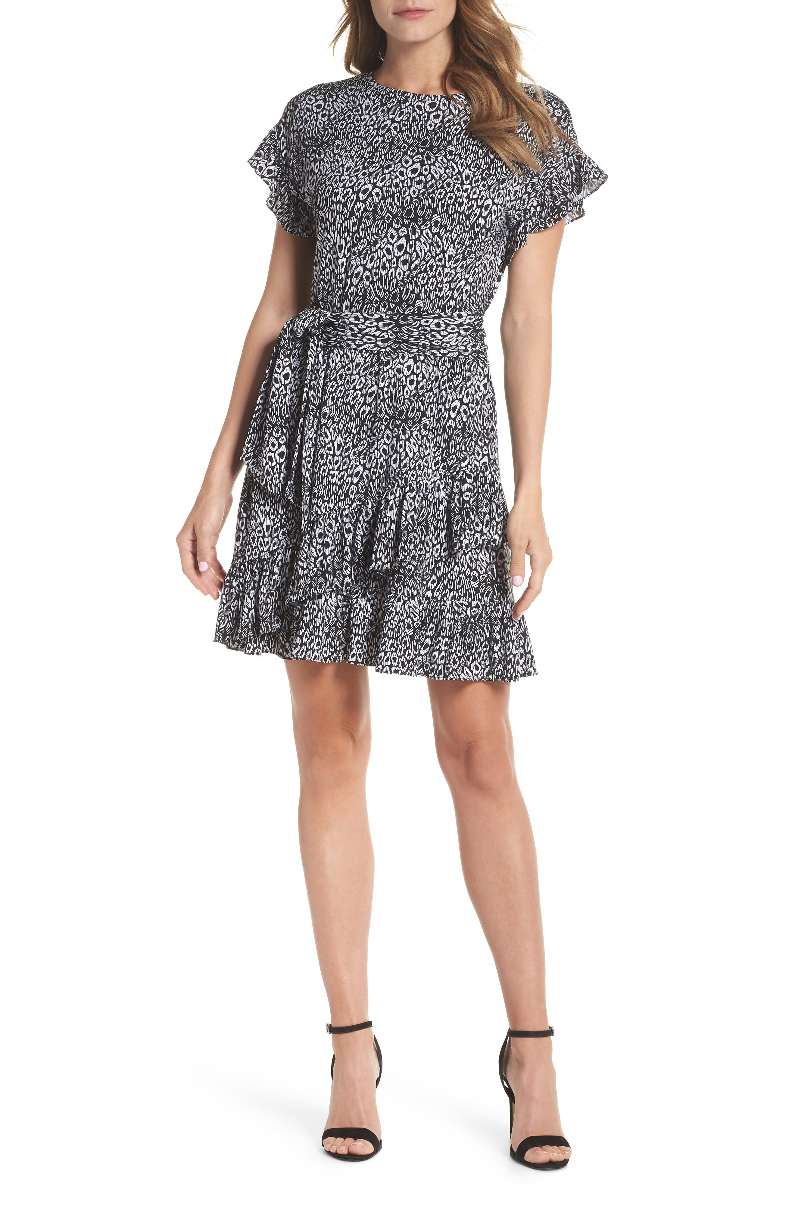 Wavy Leopard Print Ruffle Dress,                             Main thumbnail 1, color,                             Black/ White