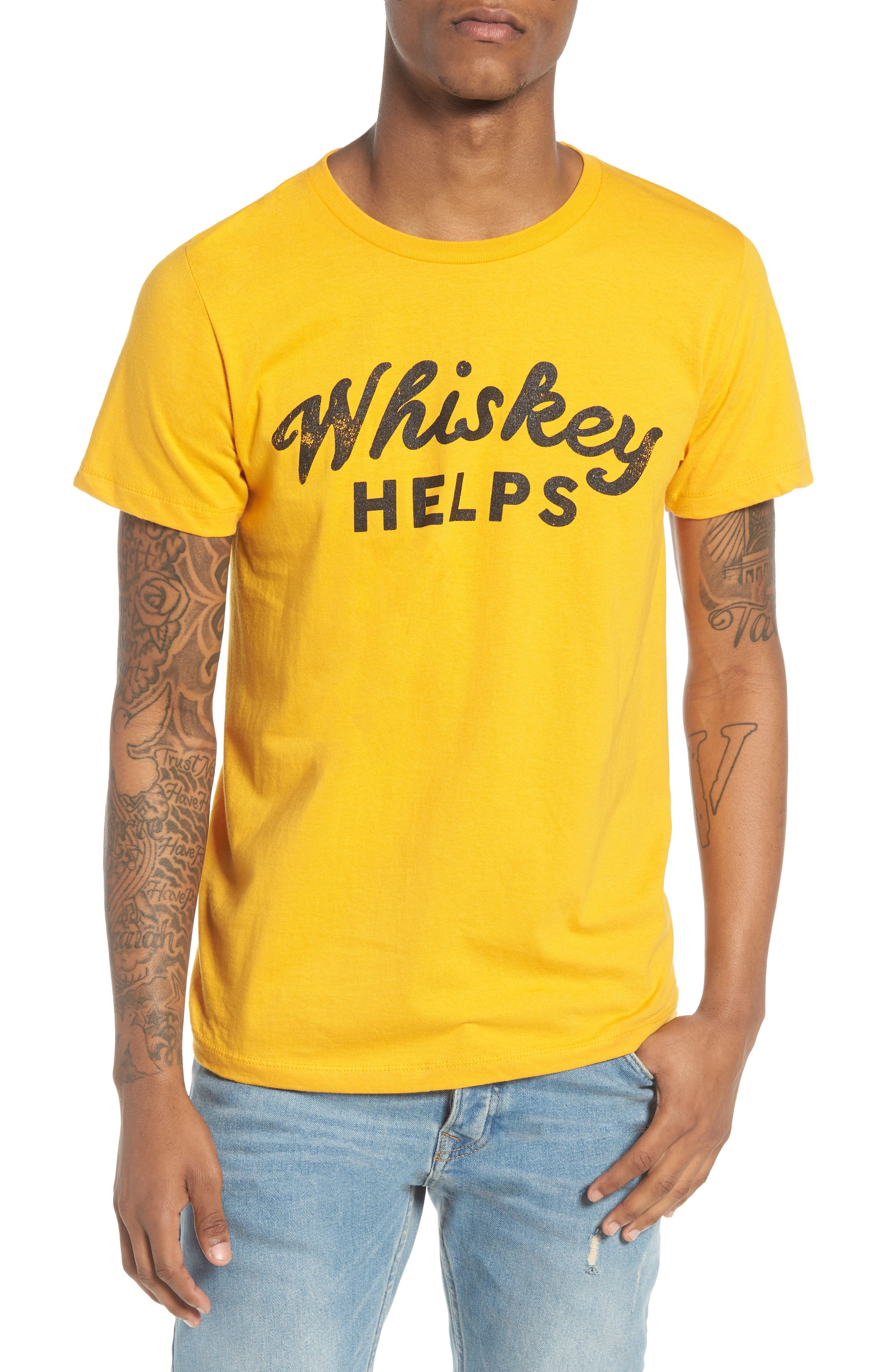 Whiskey Helps T-Shirt,                             Main thumbnail 1, color,                             Yellow Whiskey Helps