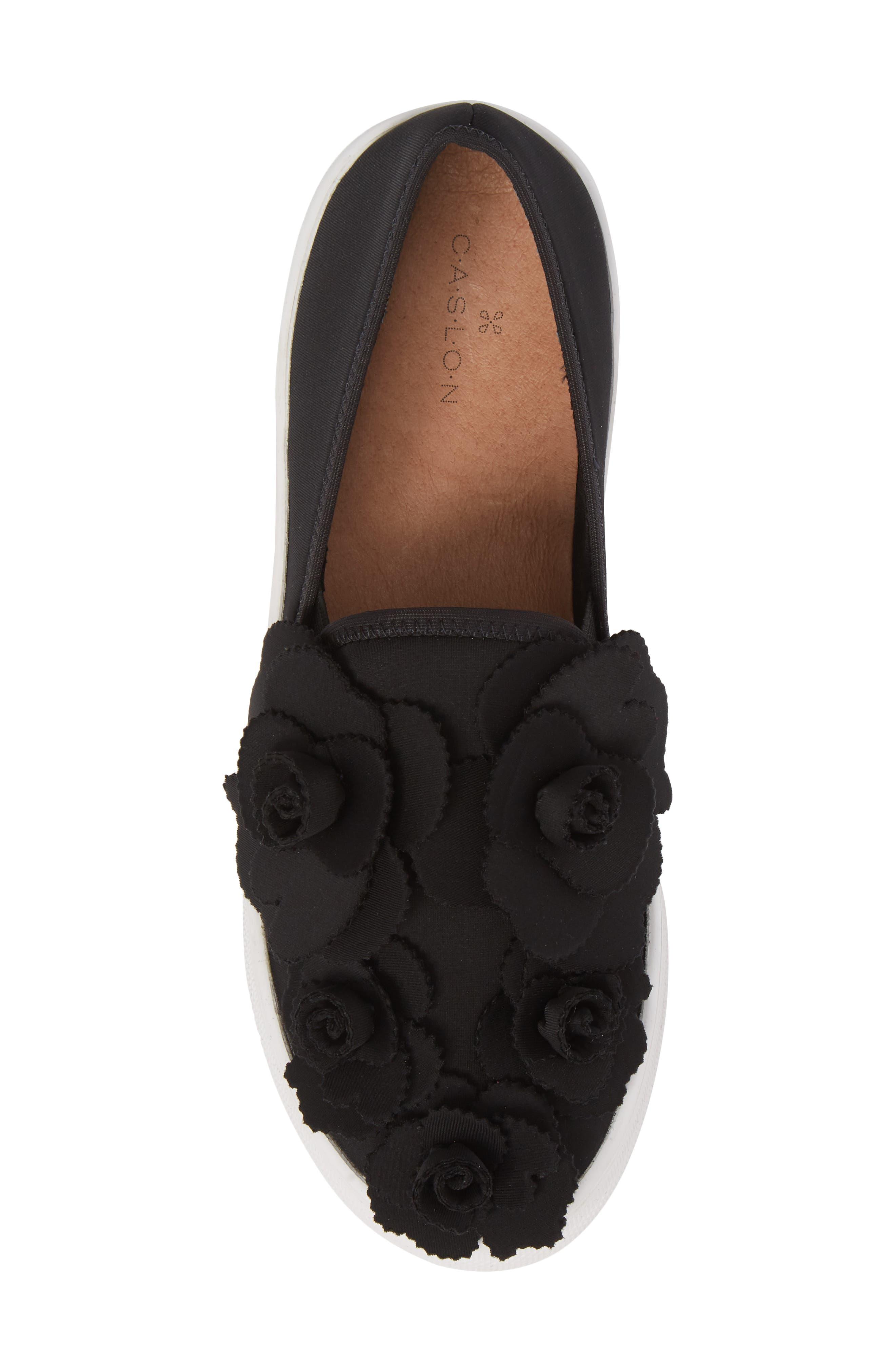 Alden Floral Embellished Slip-On Sneaker,                             Alternate thumbnail 5, color,                             Black Flower Neoprene